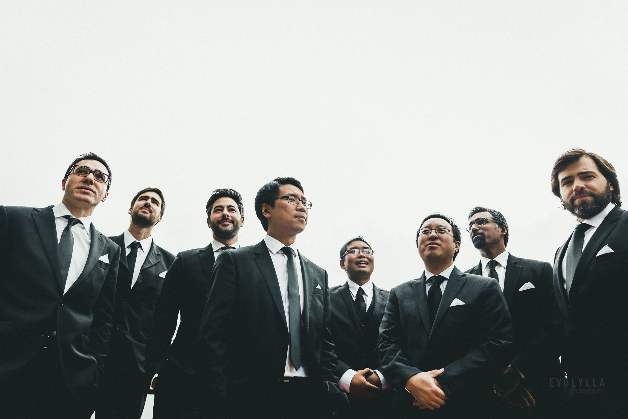 Toronto Wedding Photography Groom and Groomsmen Simplistic Black and White Suits