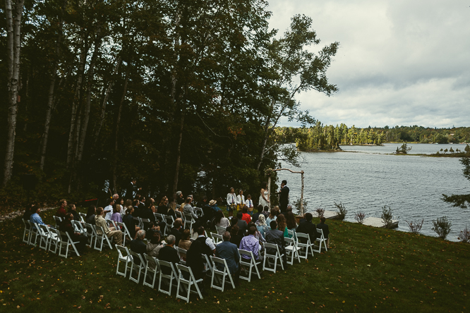 cottage wedding ceremony by the lake
