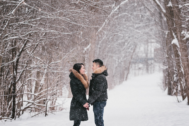 Toronto winter engagement photos in snow