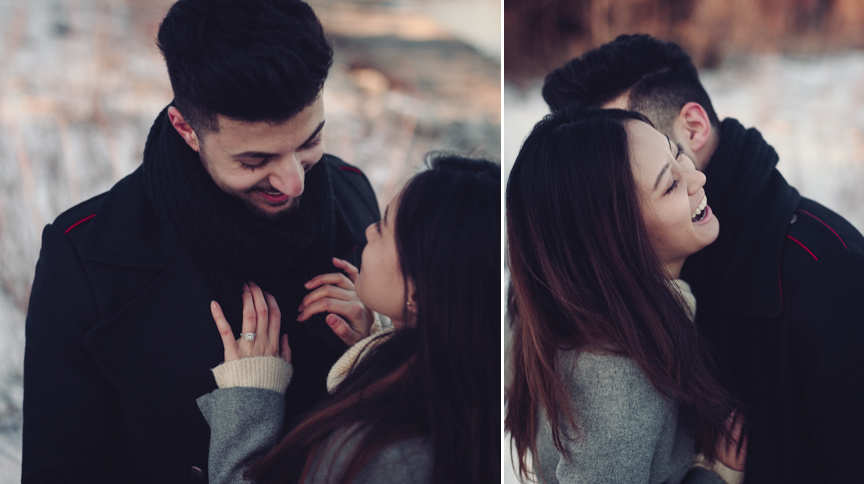 candid winter engagement photos