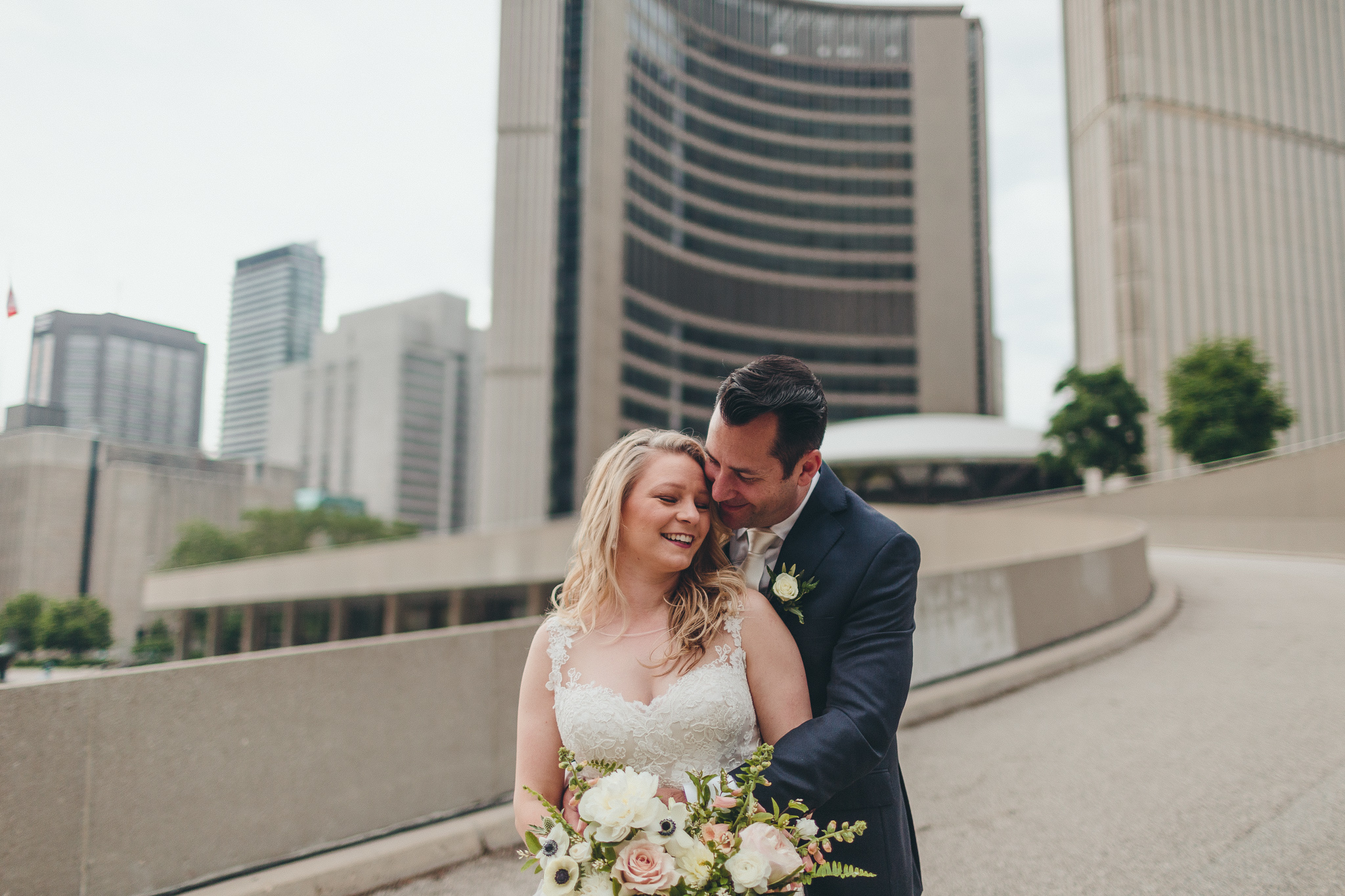 Elopement picture at Nathan Philips Square Toronto