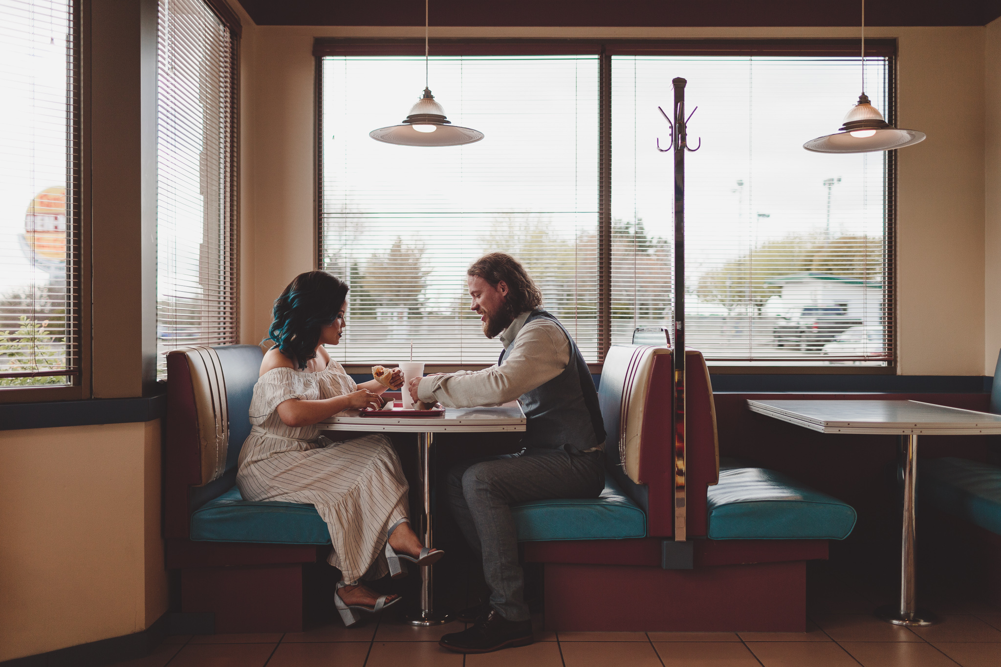 A documentary style engagement photo