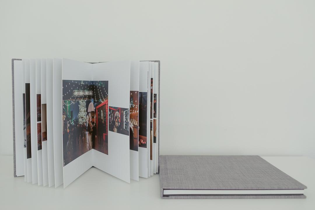 Handcrafted wedding albums.