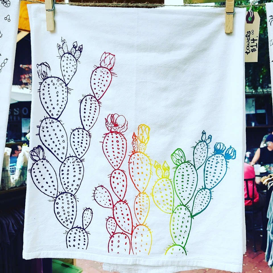 Each student will go home with their very own cactus Kitchen Towel