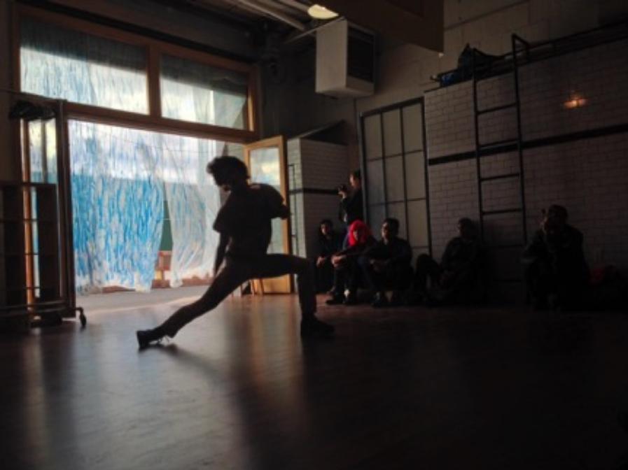 """BOOMERANG performing at """"Contra-rotations"""" art exhibition at Ran Tea House                                 Photograph by Mark Davis"""
