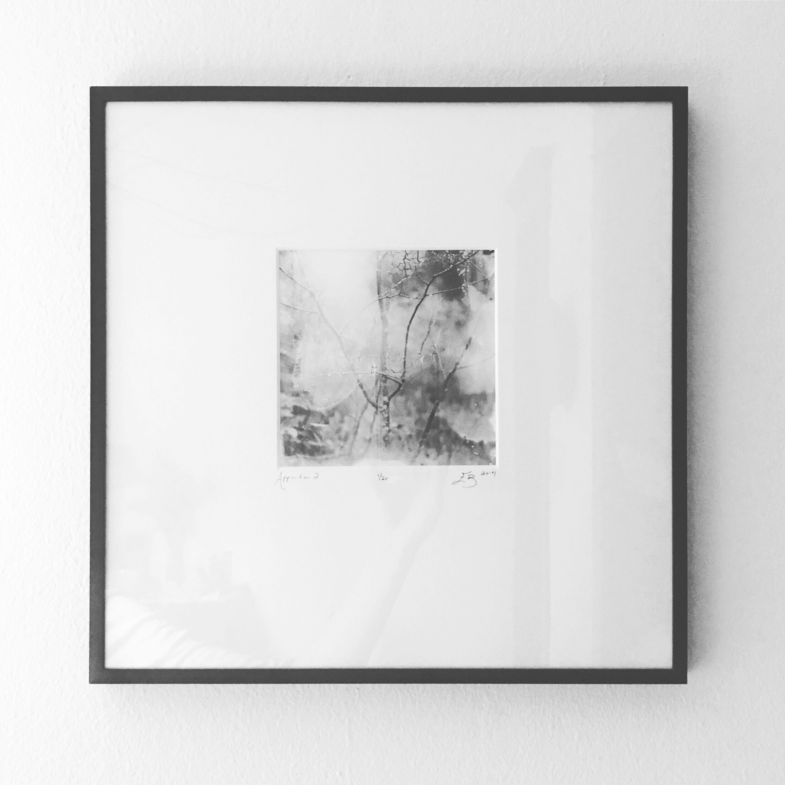 "Frame Sample (Above)    Apparition 2   (4"" x 4"" print, in a 13"" x 13"" mat and black metal frame)"