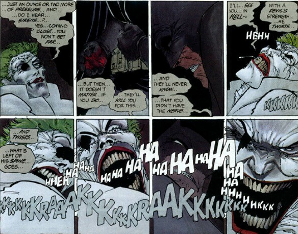 "** Yes, literally. For what it's worth, this scene is a perfect example of Miller trying to have it both ways. The Joker is certain that Batman will face consequences for ""killing"" him as opposed to stopping just short so. It didn't ring true then and doesn't now."