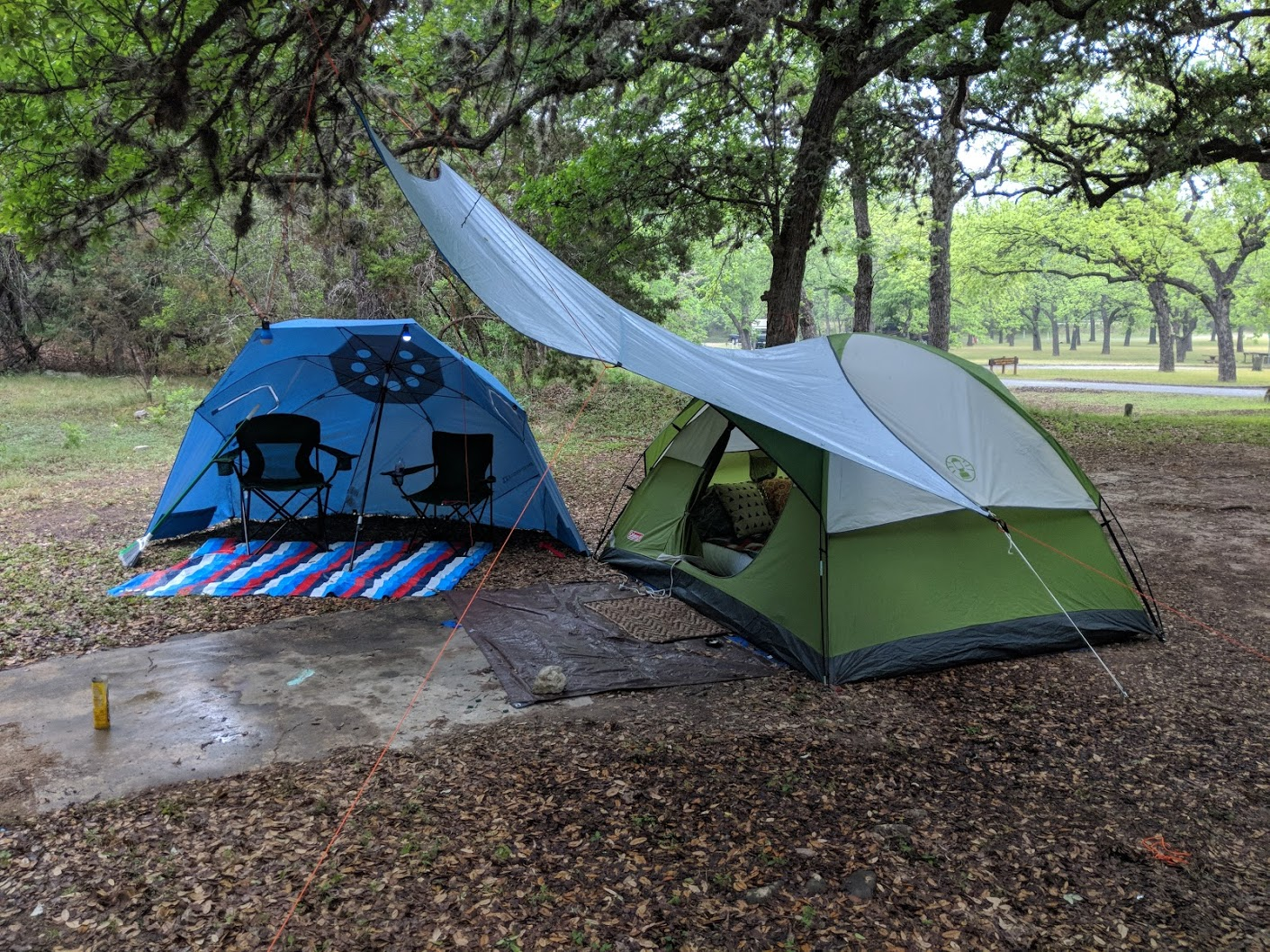 Here's our basic camping setup when we're prepared for rain. It is a good thing we ready, too, as it would have been pretty uncomfortable without it.
