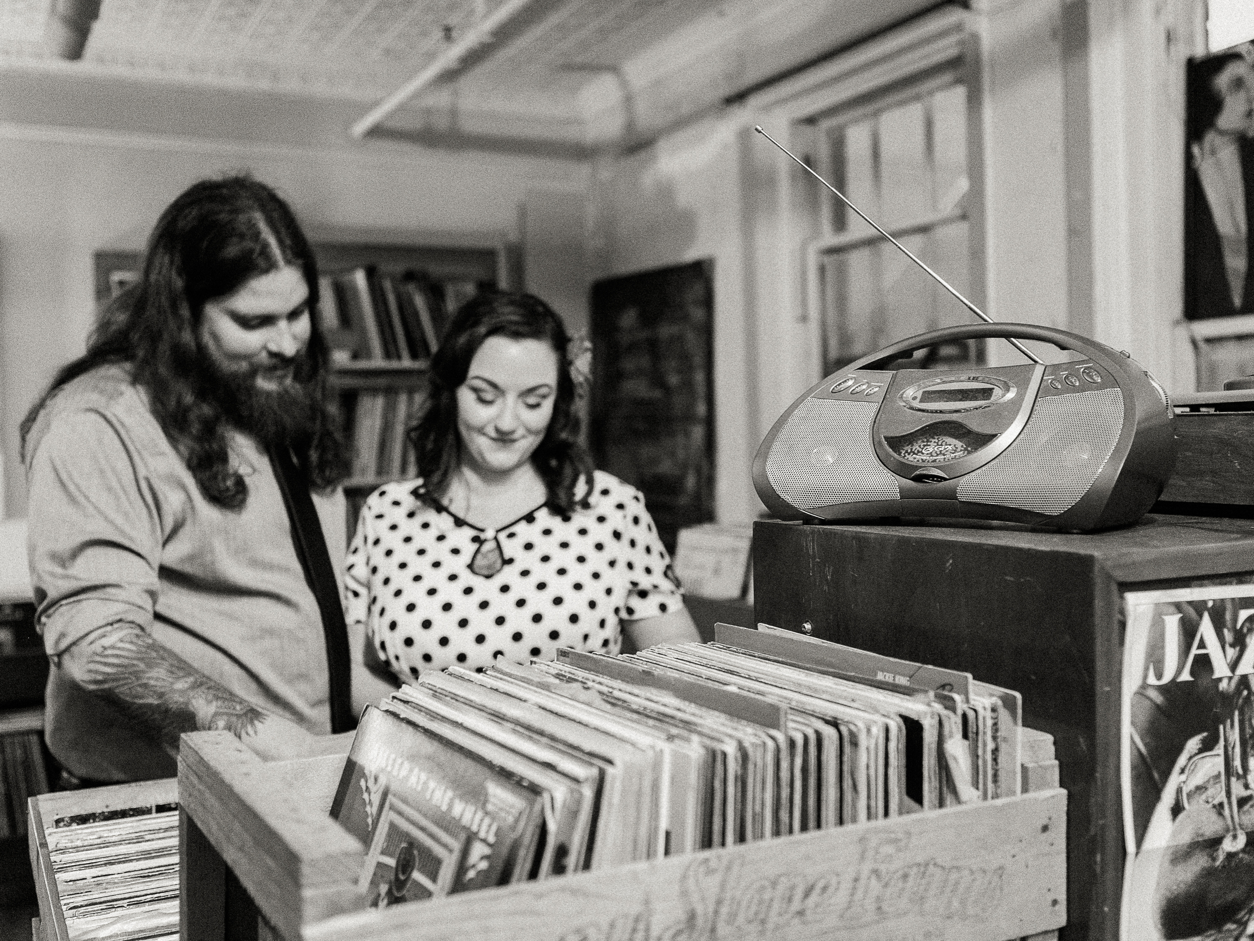 Amerique + Cory: A Vinyl Engagement // www.kristalajara.com