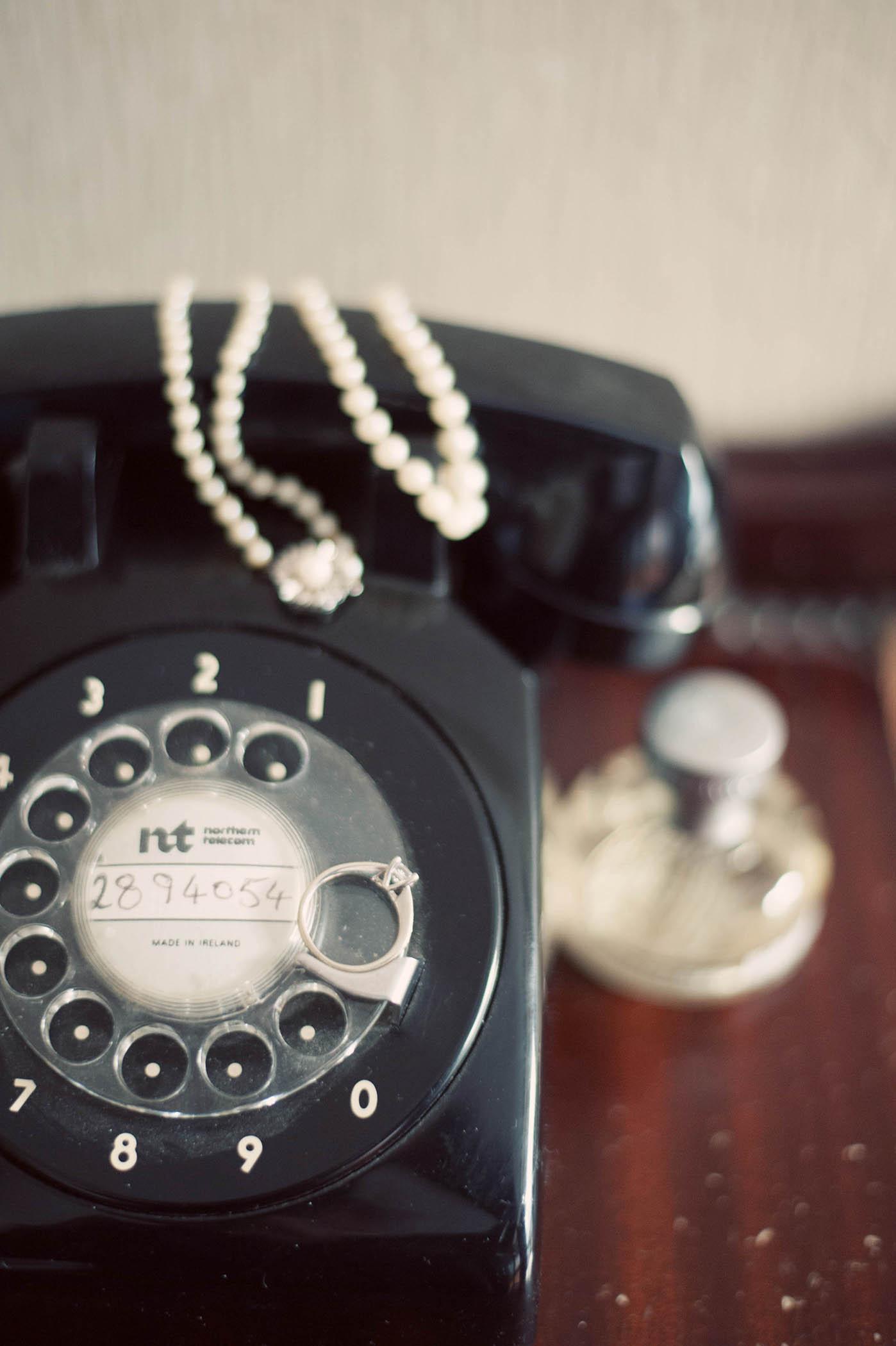 Millhouse, Slane wedding, telephone and brides jewellery 2014