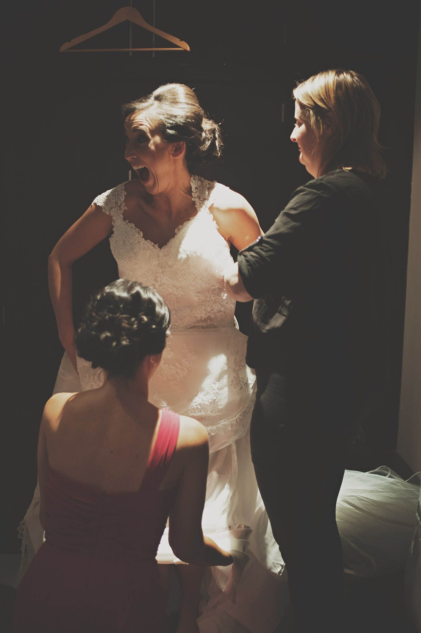 Brooklodge Hotel wedding, bride dressing