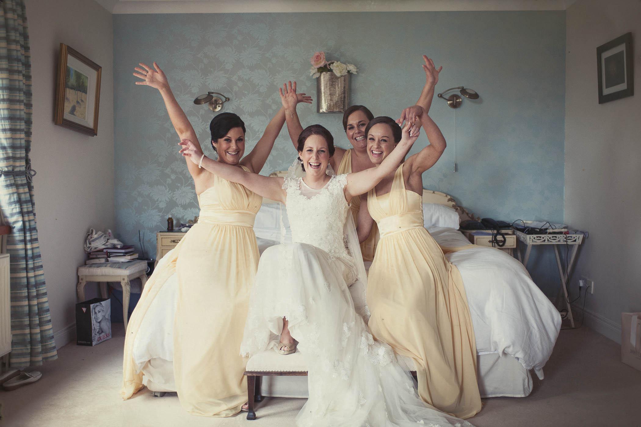 Druids Glen Wedding 2014, bridal party in bedroom