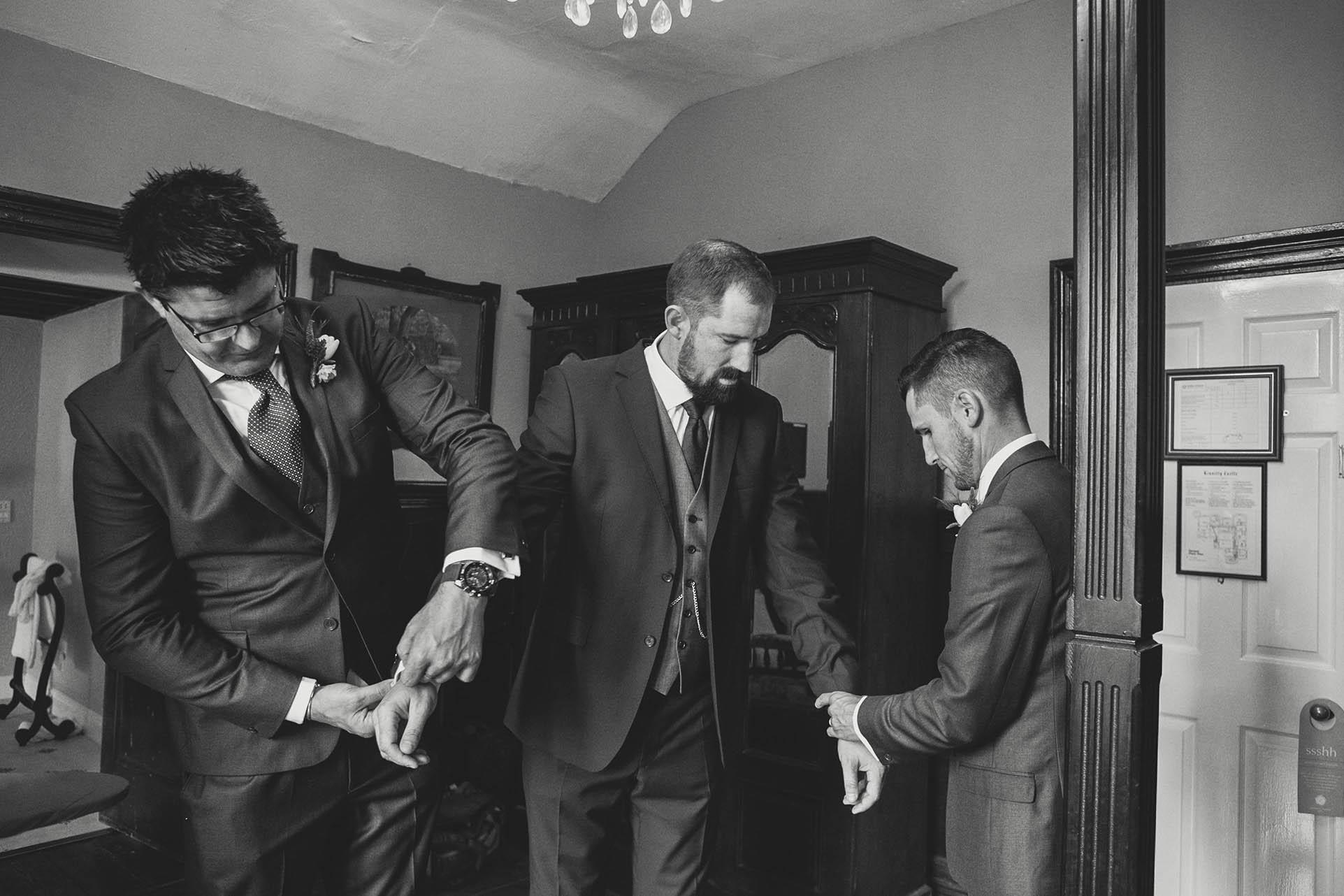 Kinnity Castle wedding 2014, groom getting ready