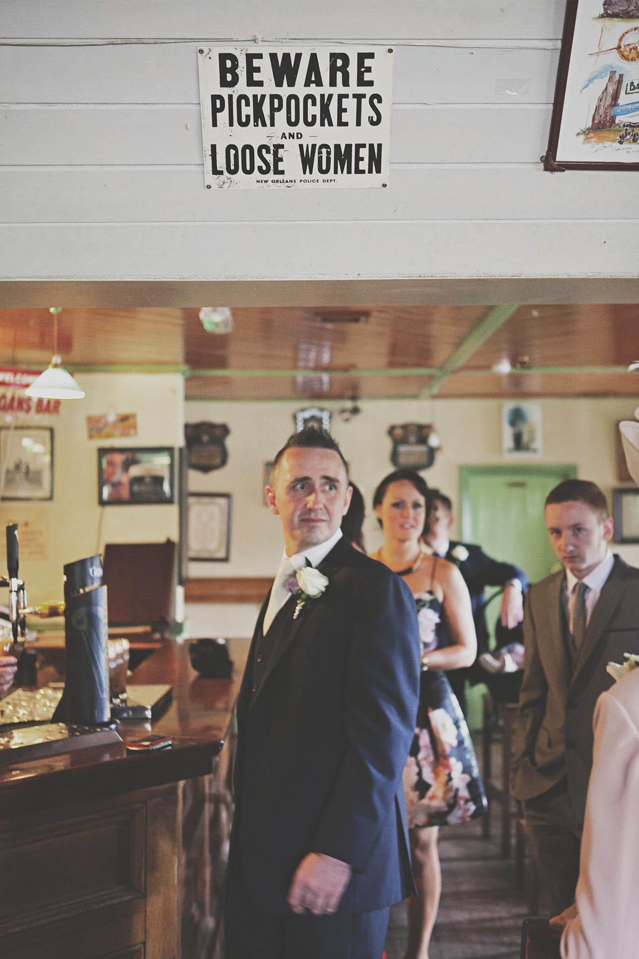 Thomas Prior Hall wedding, groom at pub