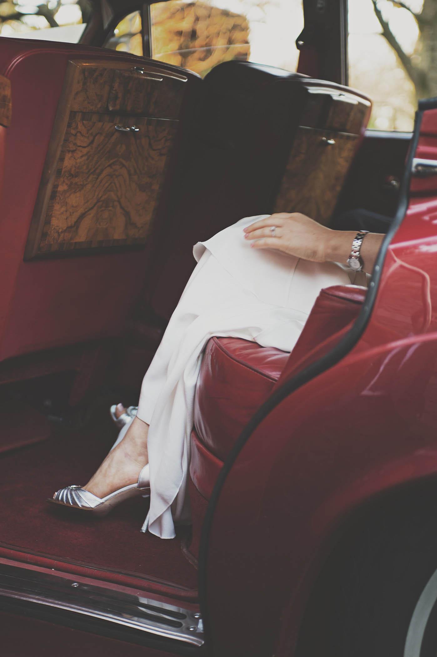 Luttrelstown House, Brides legs in car at wedding