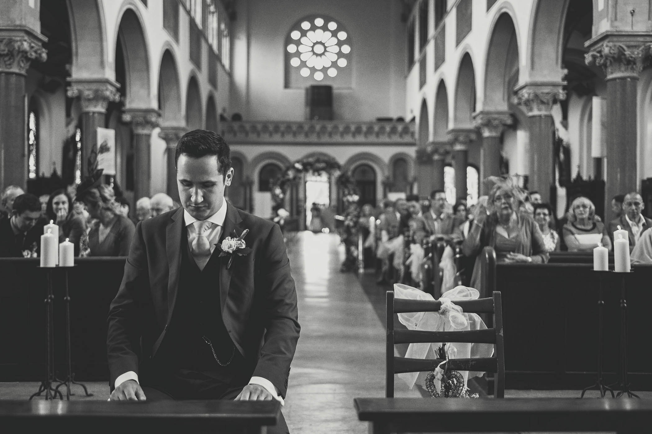 Groom waitingHarold's Cross Church wedding, patiently for bride to enter church