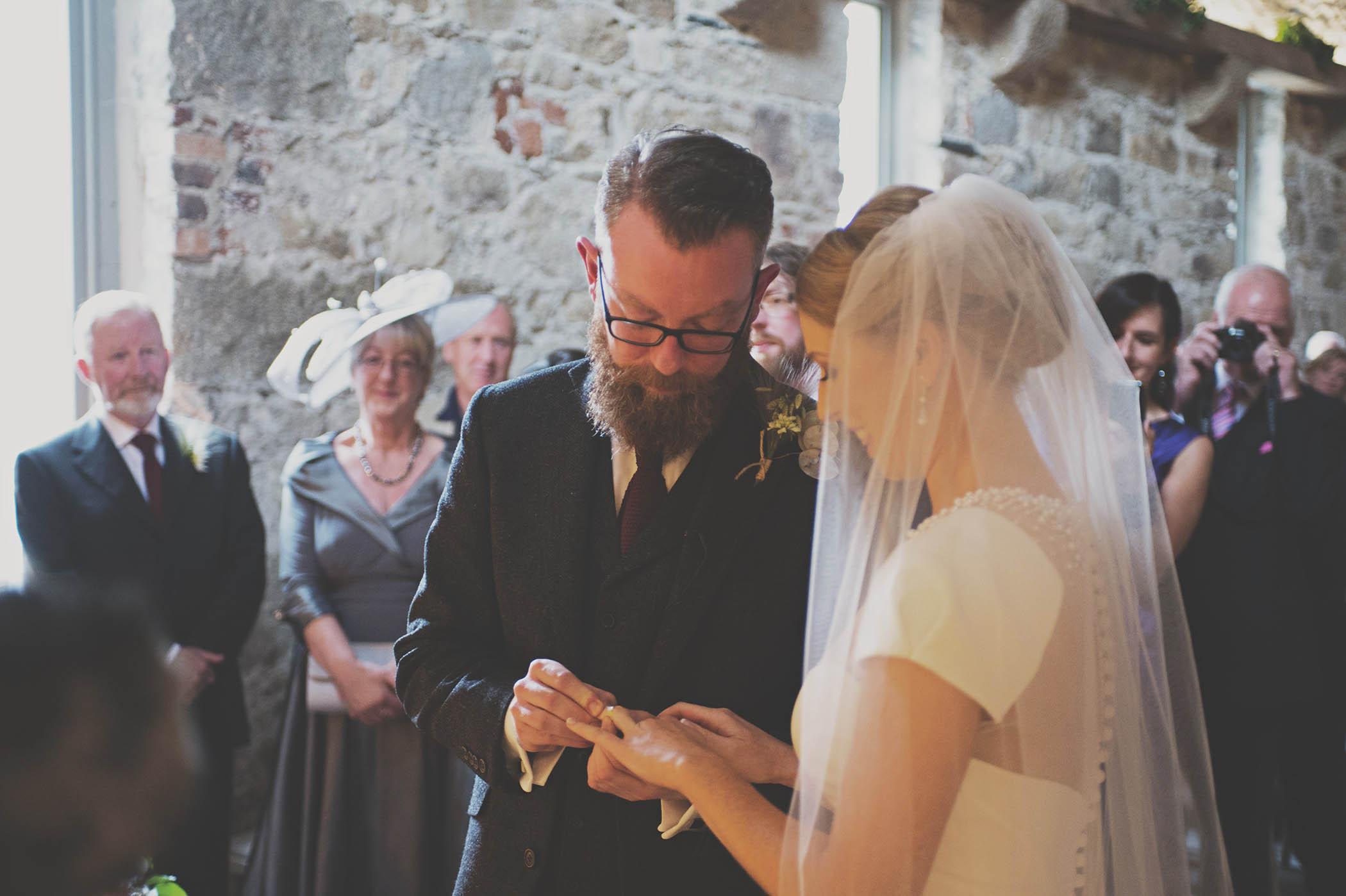 Borris House Wedding exchange of rings