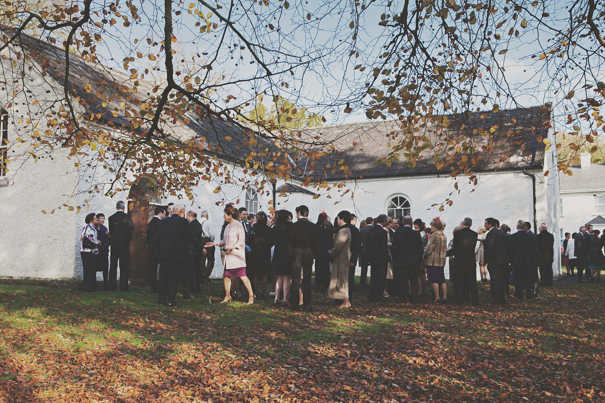 Dromoland Castle wedding, guests outside church