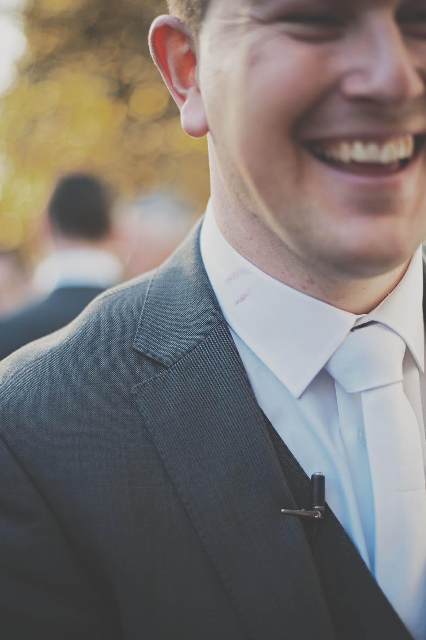 Dreamland Castle wedding, smiling groom