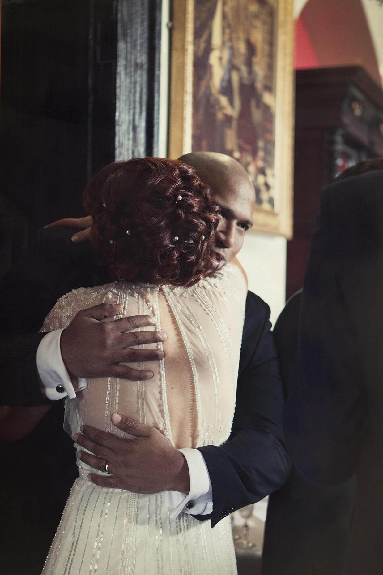 Kinnity Castle wedding, congratulatory hug for the bride