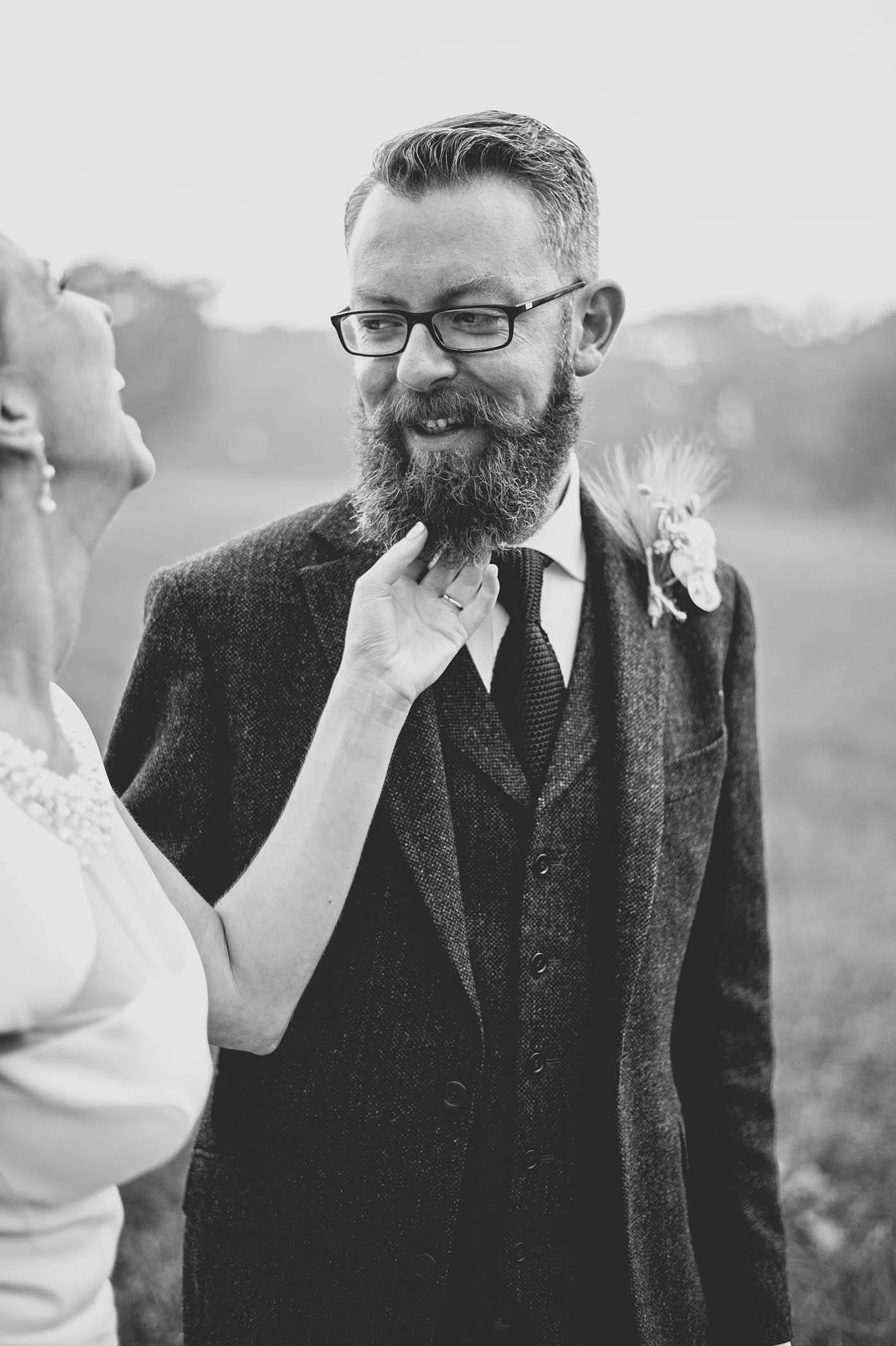Borris House 2014, tender moment between bride and groom