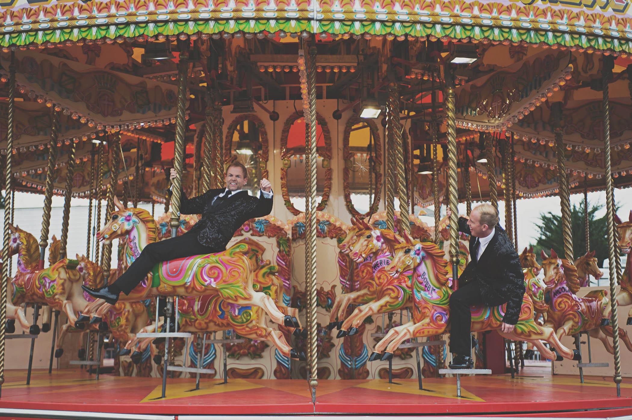 Thomas Prior Hall wedding couple on carousel