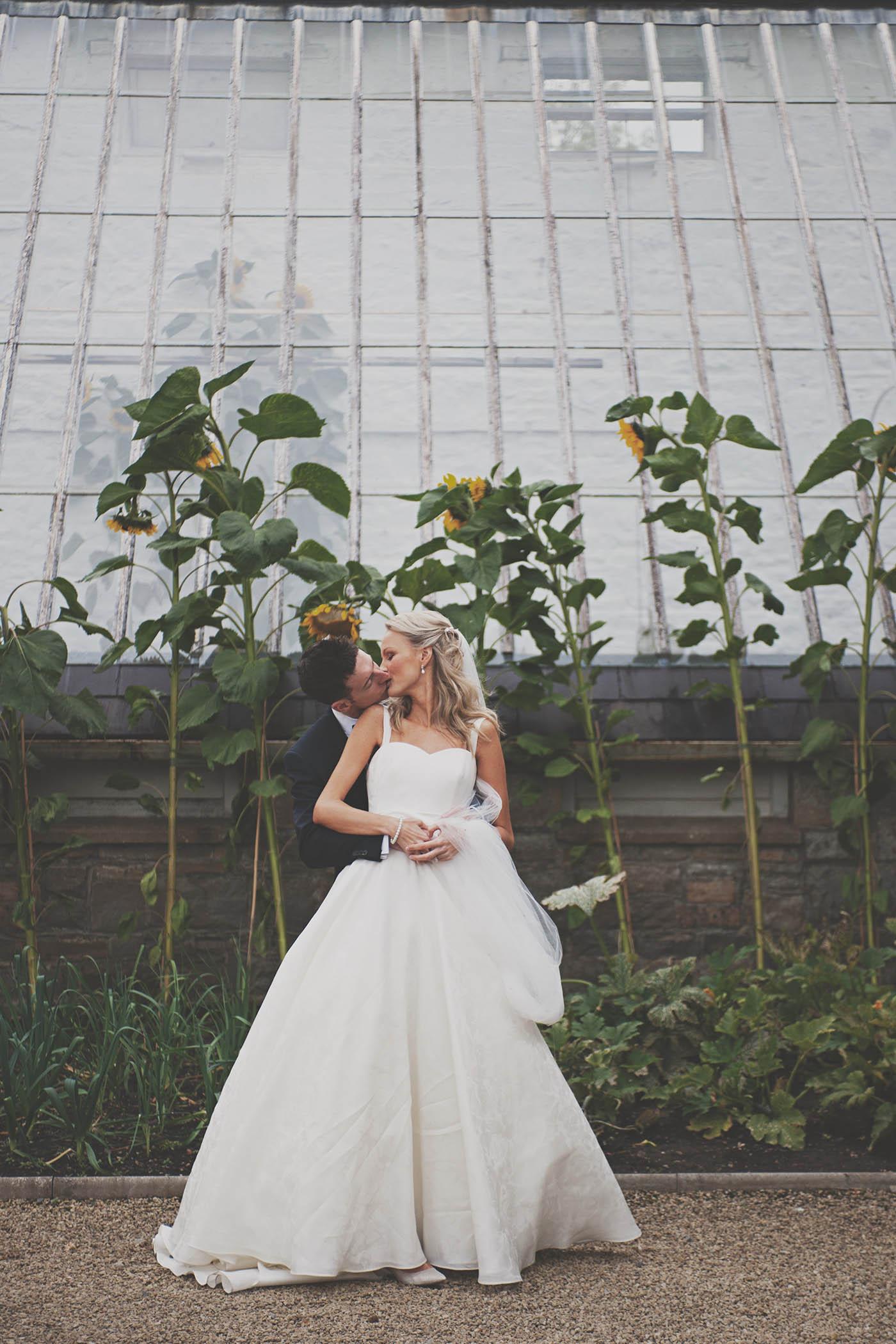 Lough Rynn Castle wedding, green house, married couple