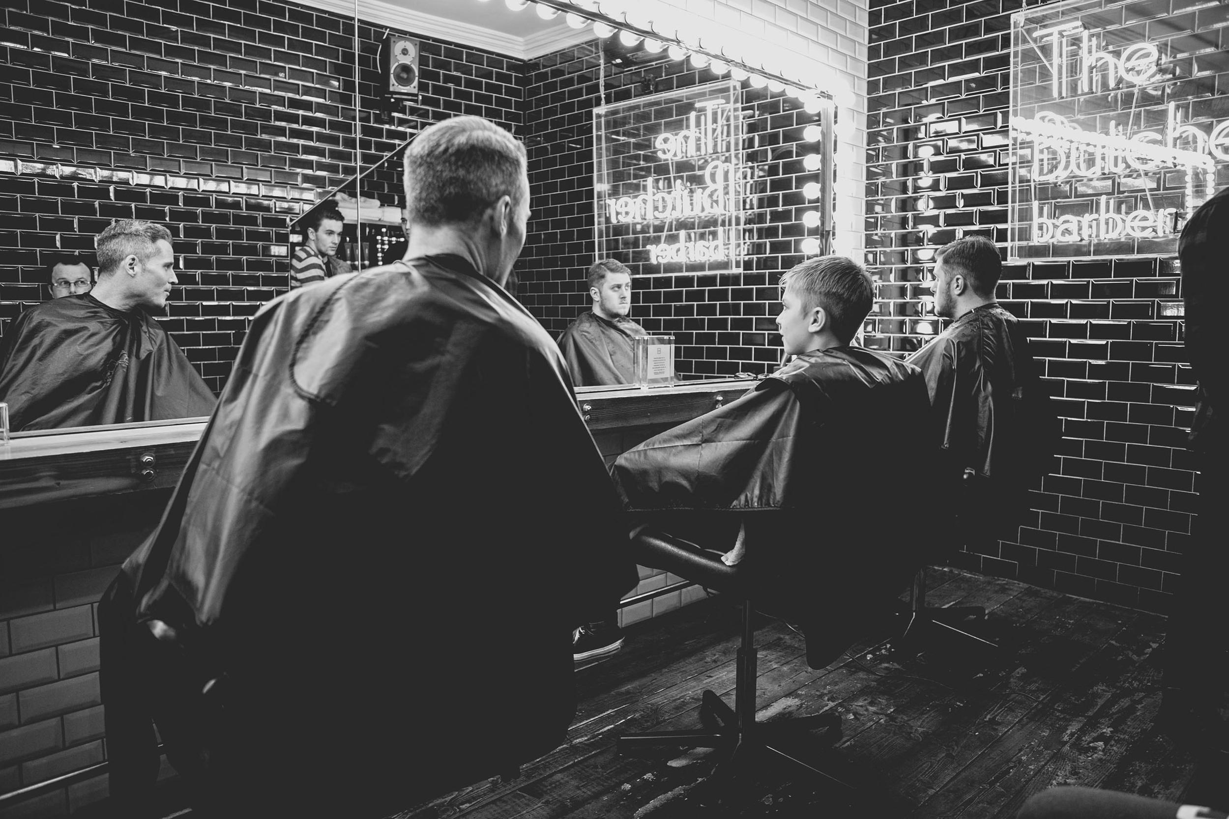 Groomsmen and Groom at Sam's Barbers