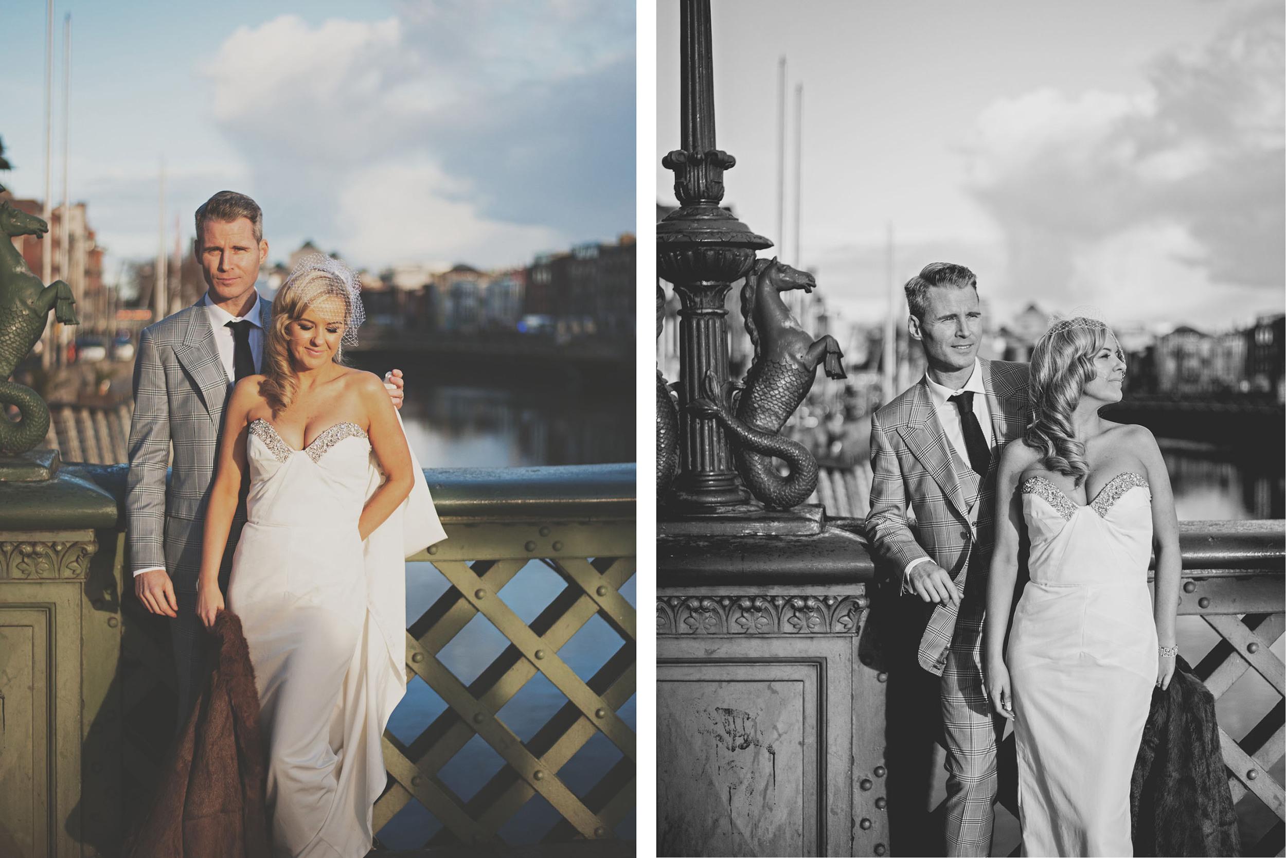 Millenium Bridge Dublin, wedding couple