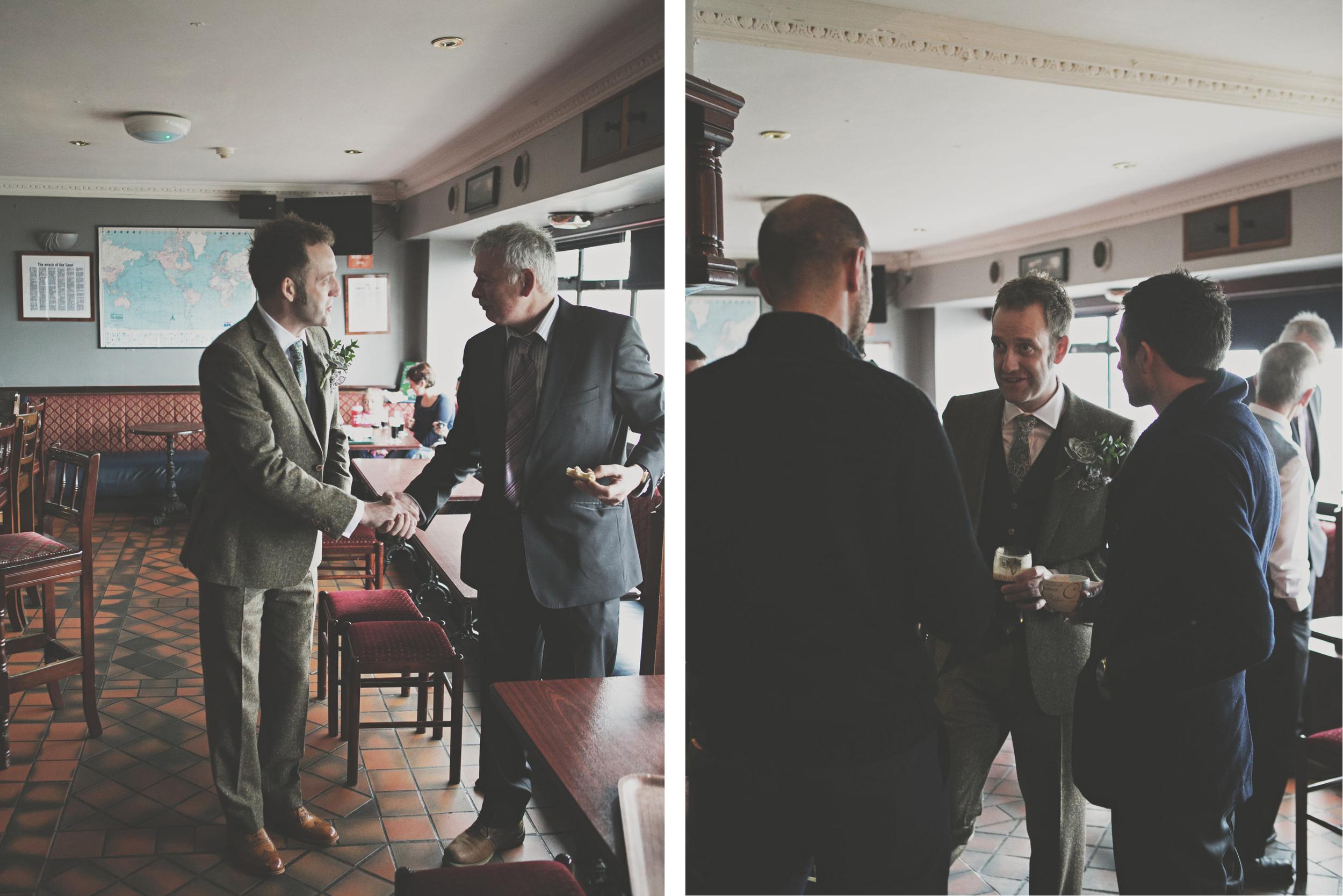 Groom at pub on Wedding day