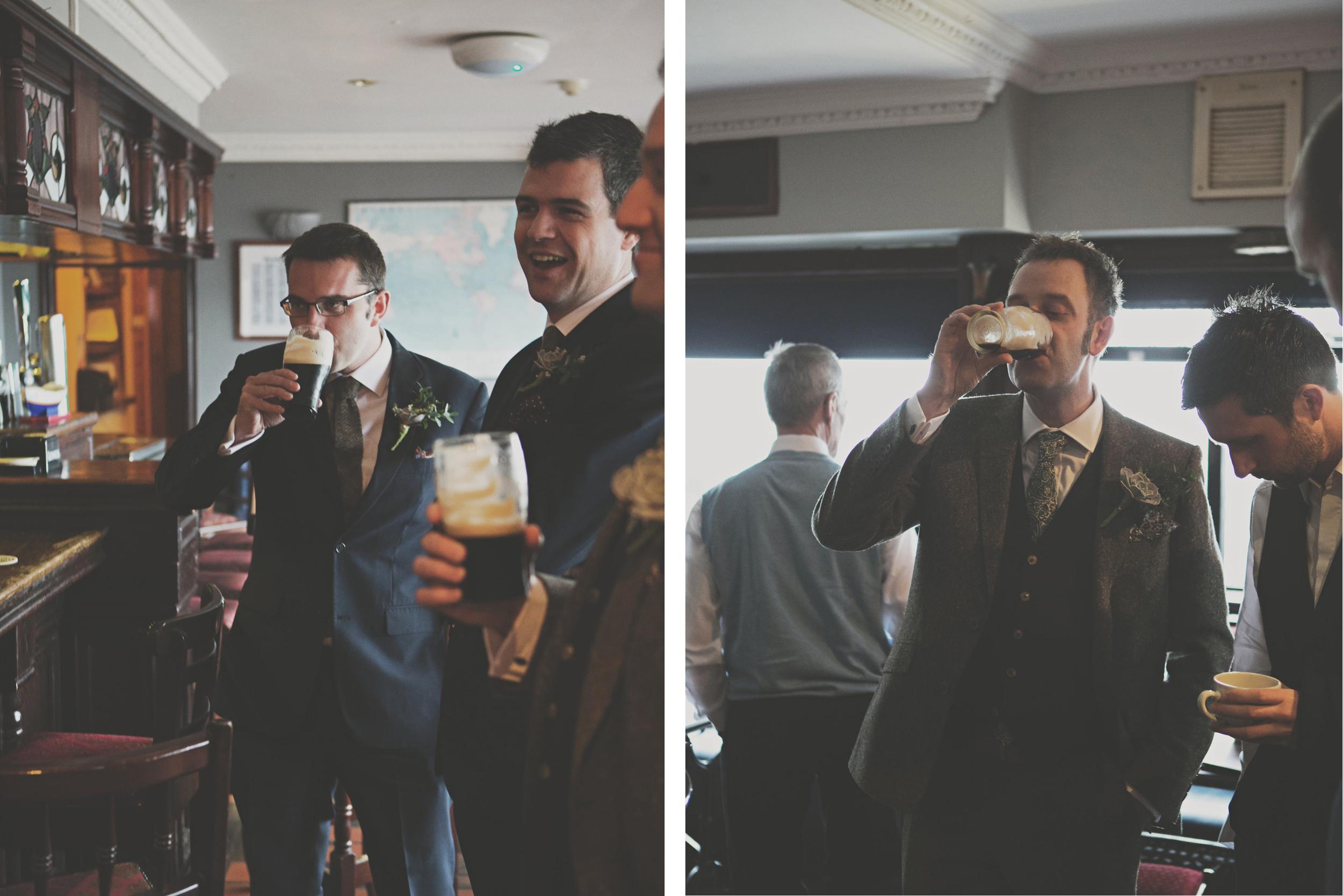 Pints on wedding morning