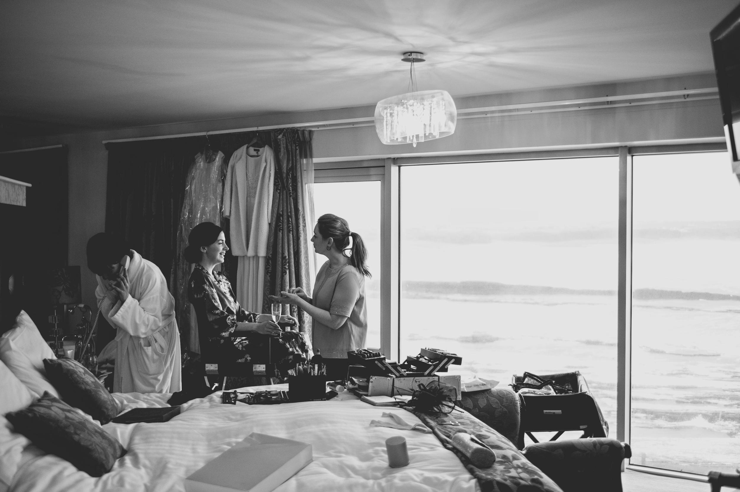 Bride and bridesmaids preparations
