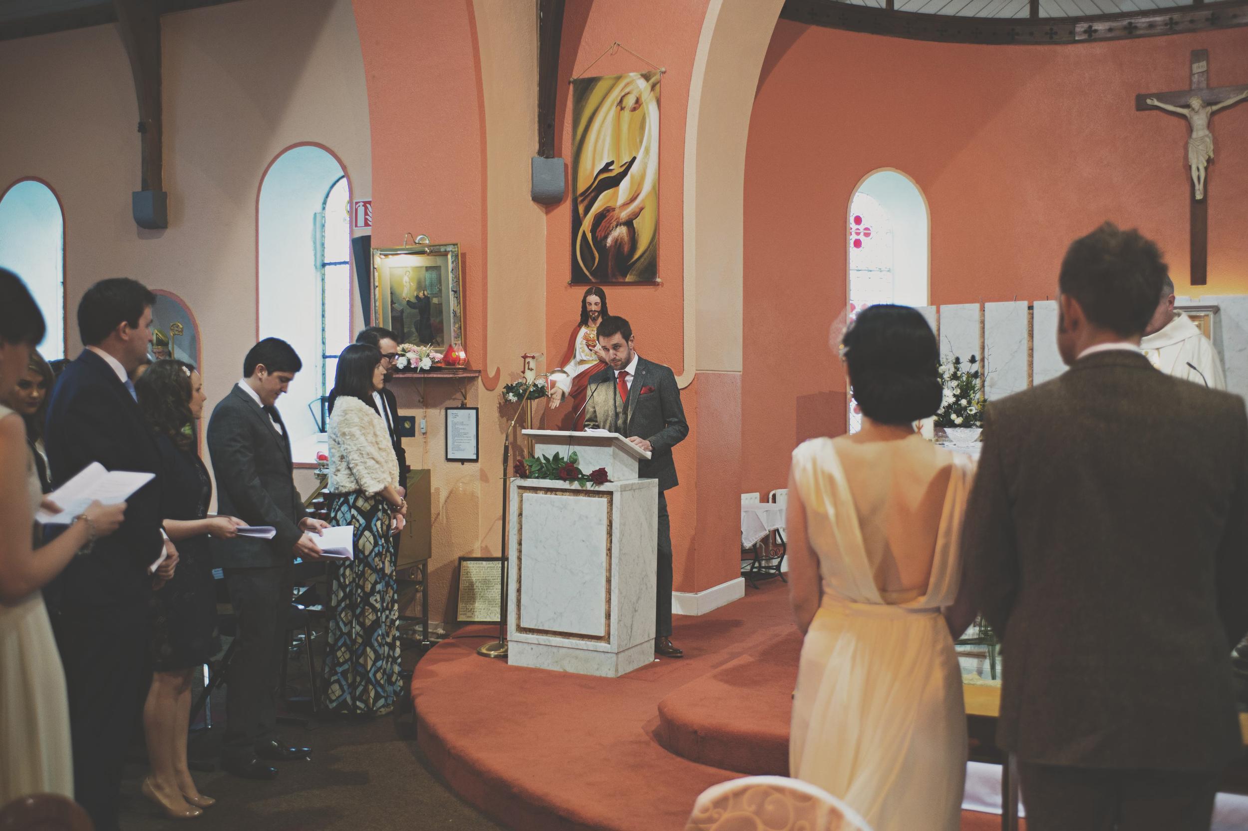 reader at wedding service