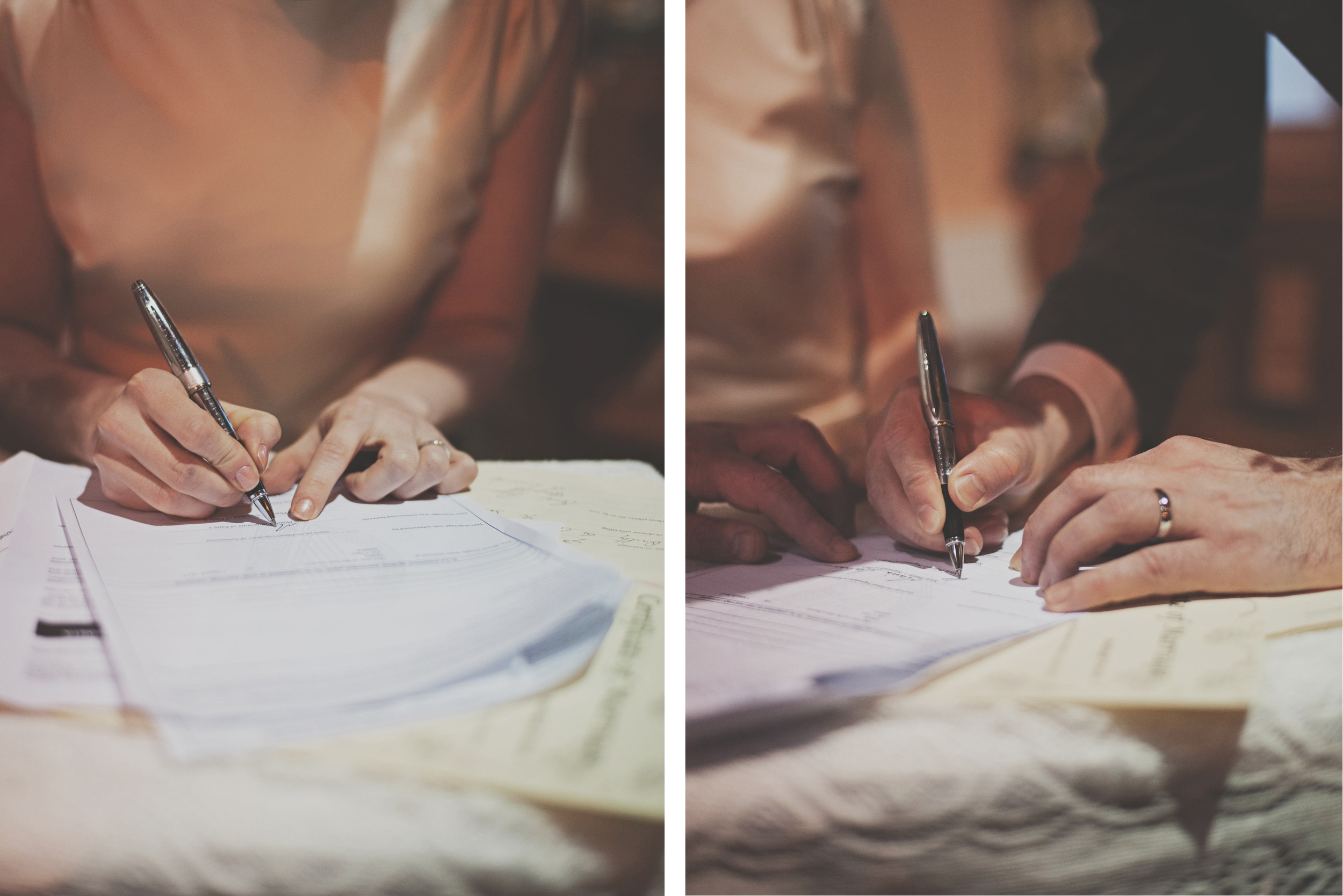 Wedding couple sign papers