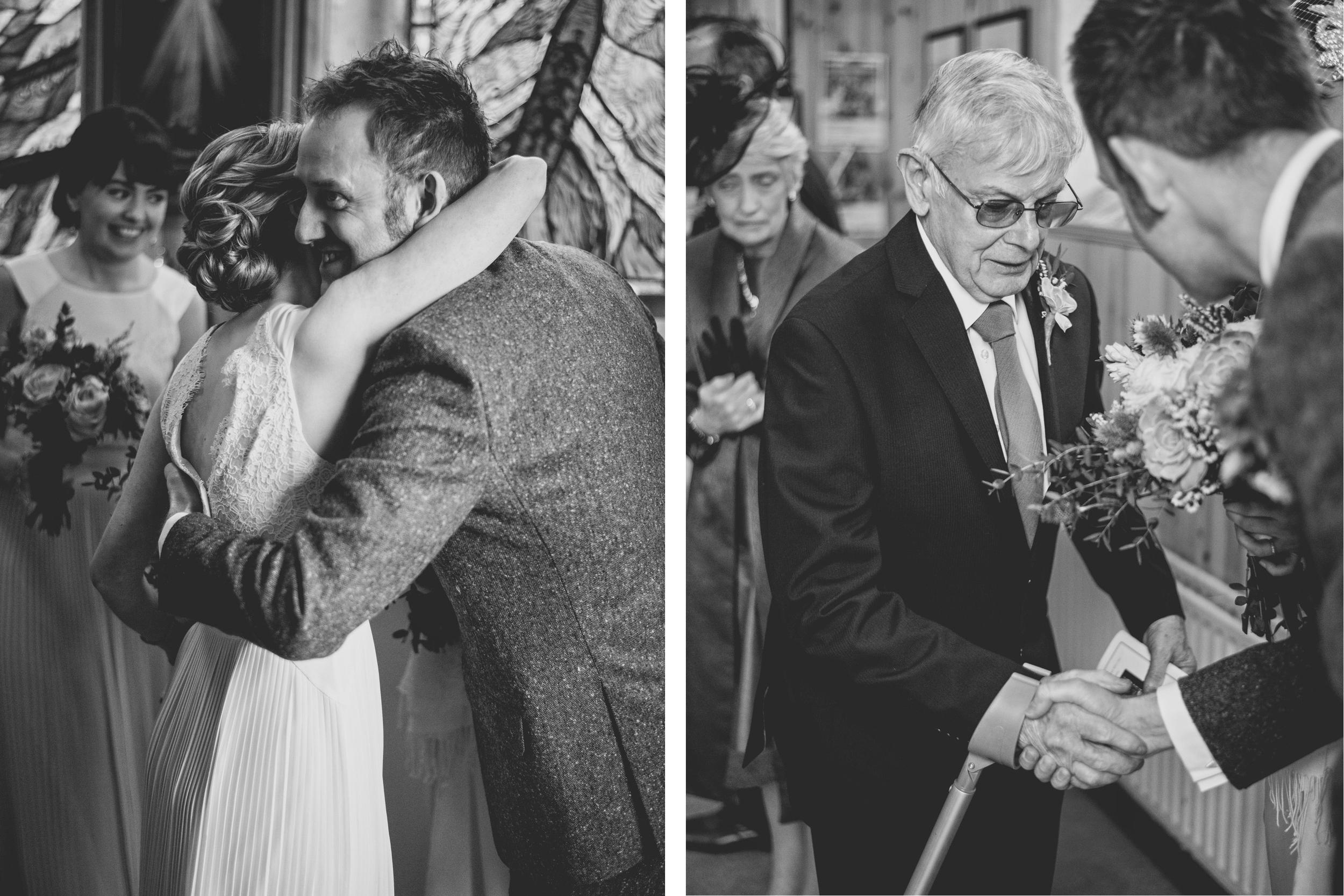 Guests congratulate wedding couple