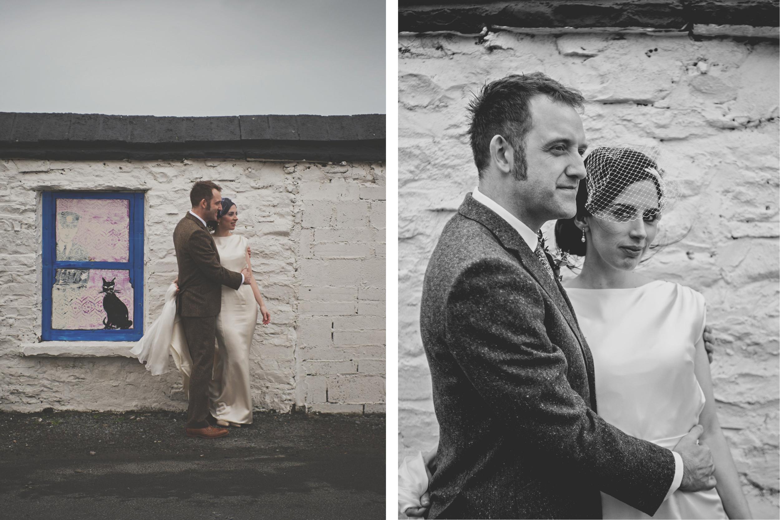 Wedding couple at derelict cottage