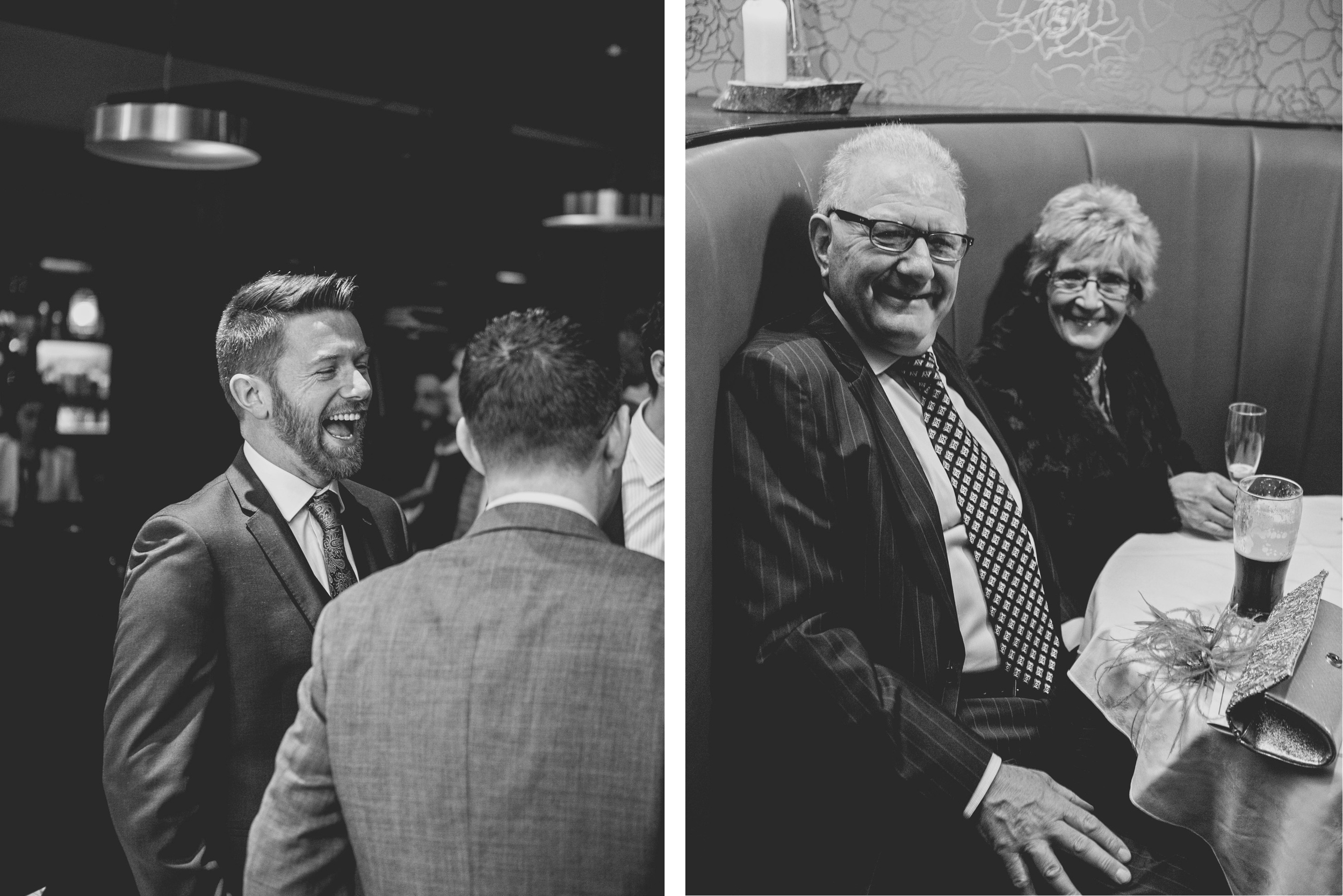 laughs and smiles of wedding guests