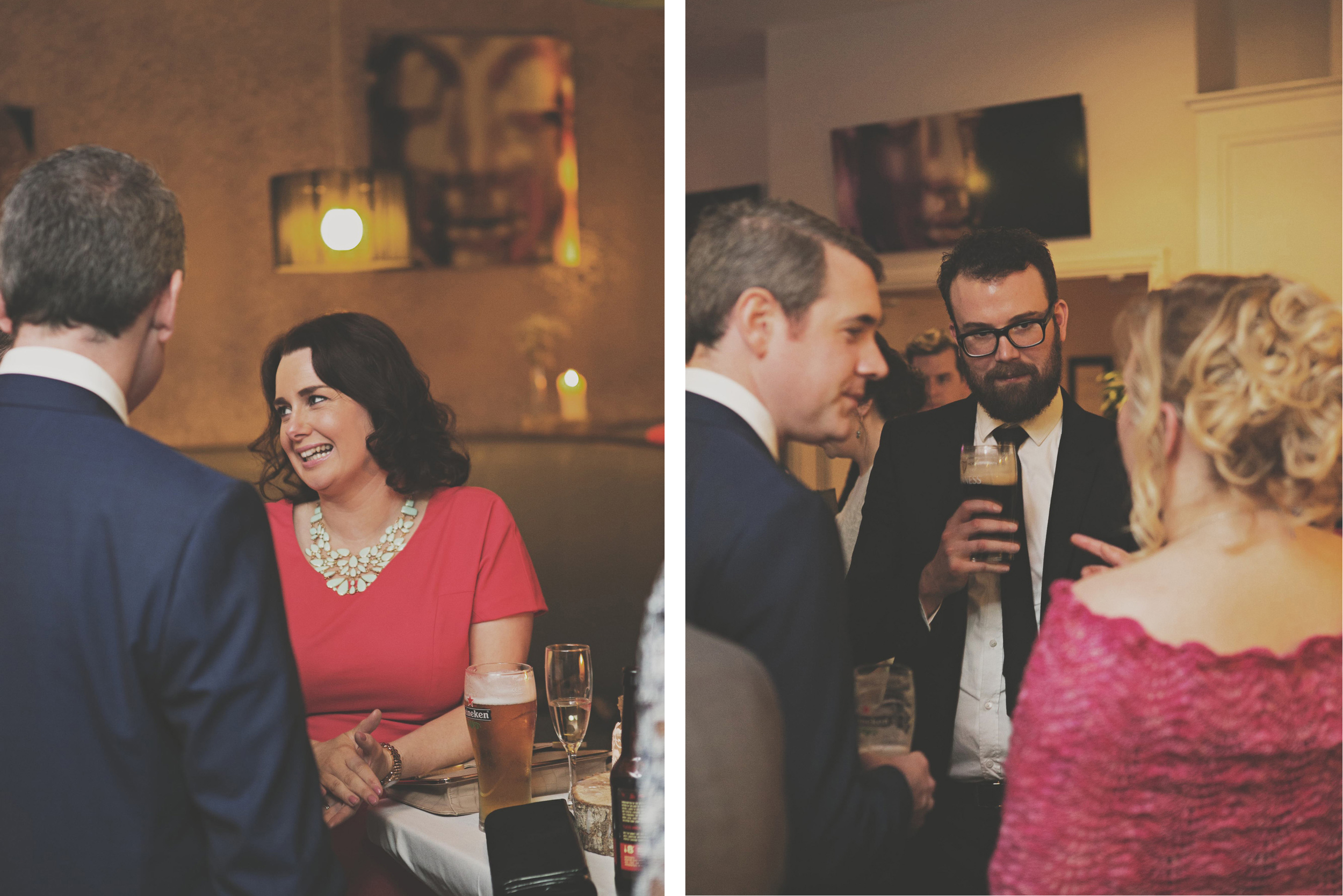 drinks and chats at wedding