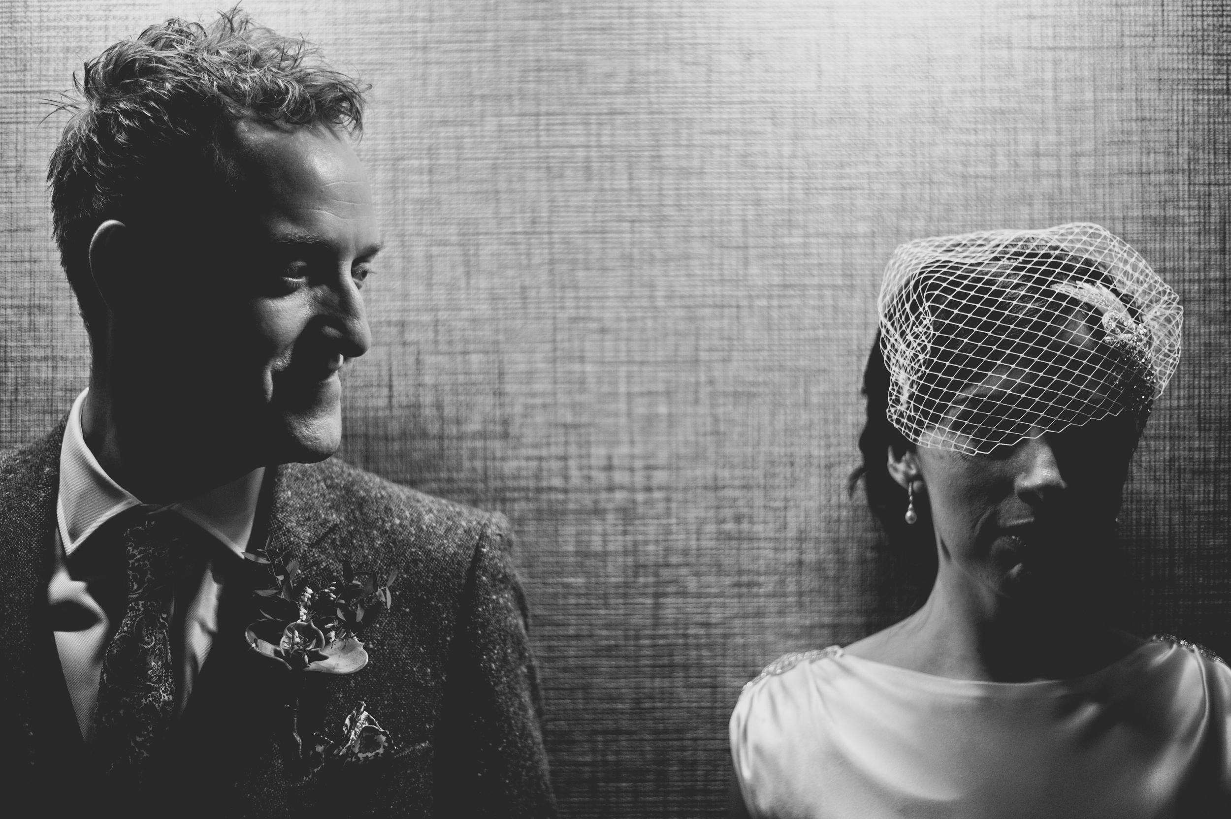 moody black and white wedding shot