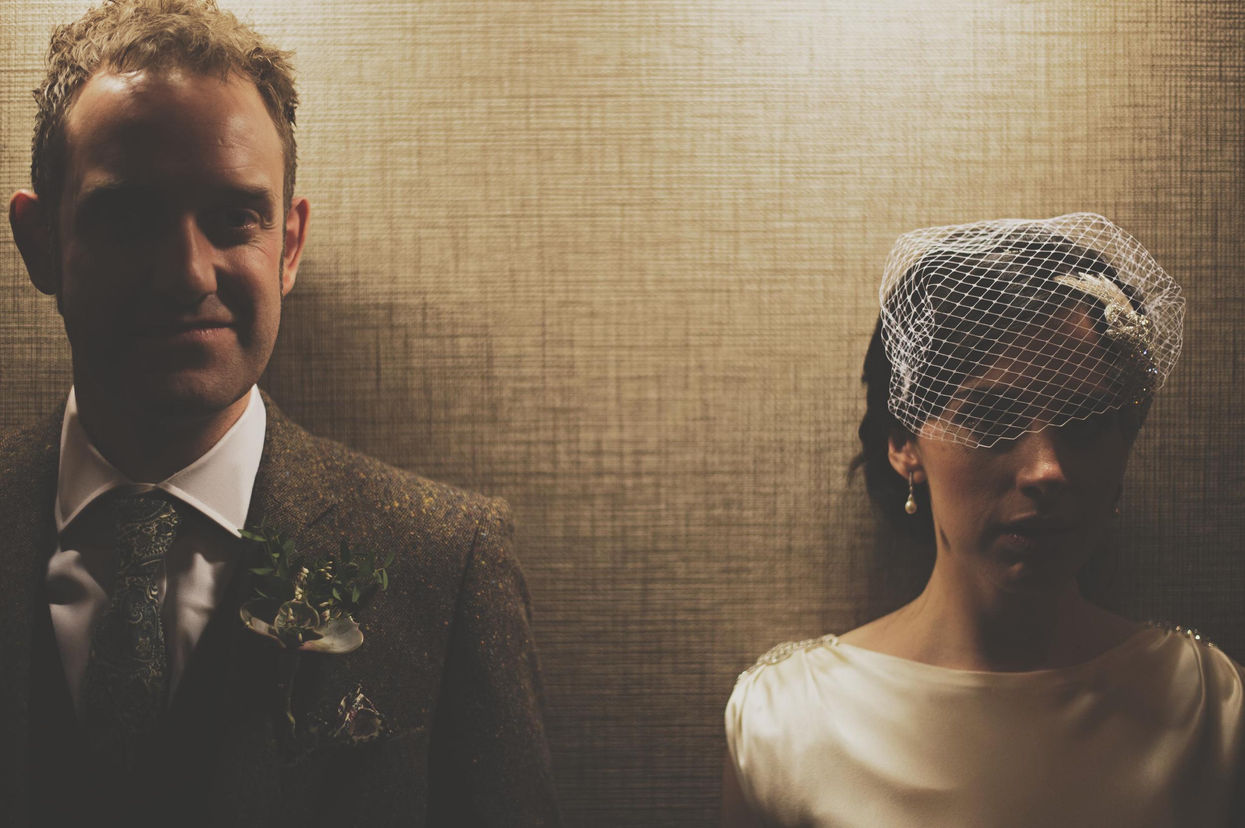 moody wedding shot of couple