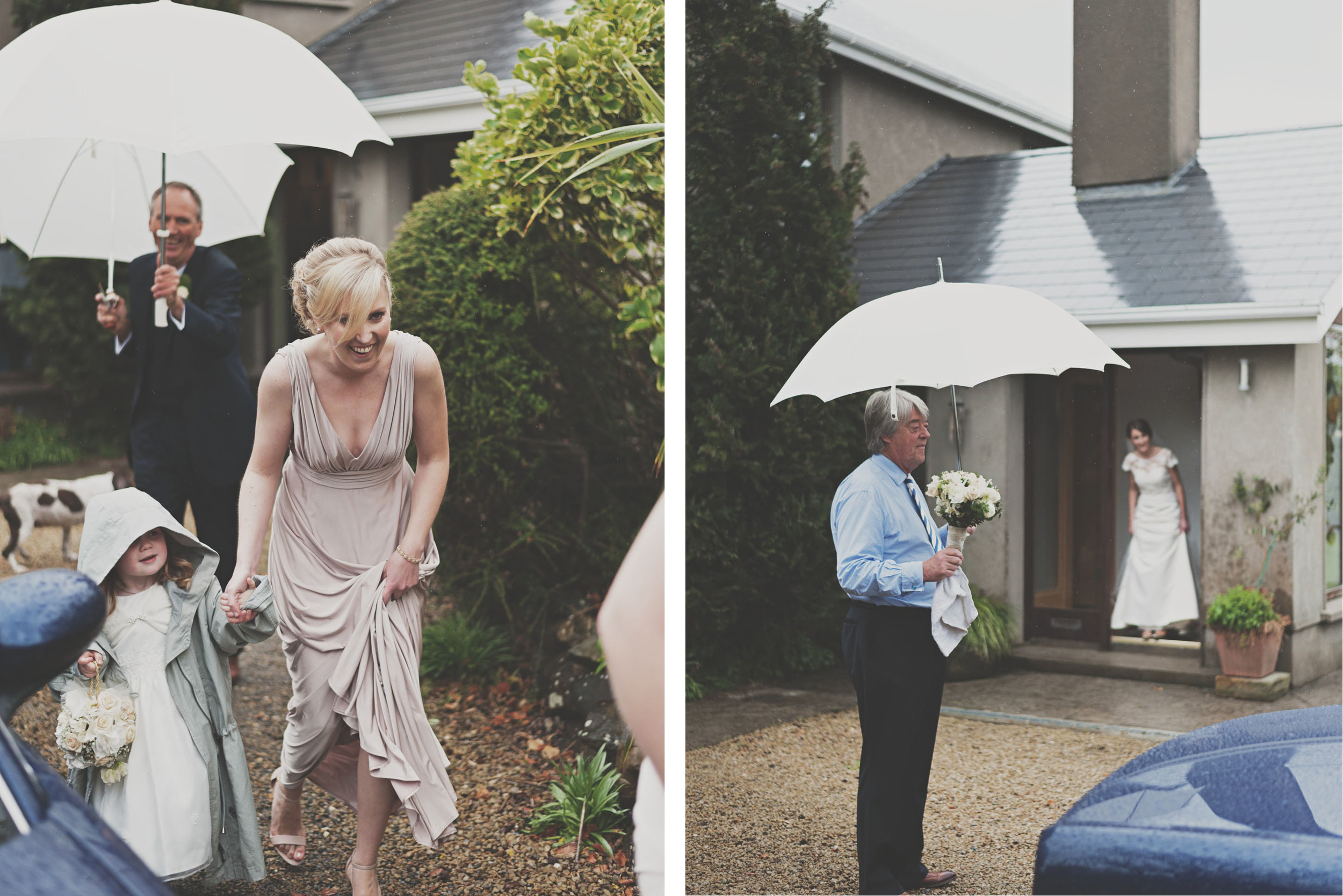 Drizzle of rain as bride leaves the house