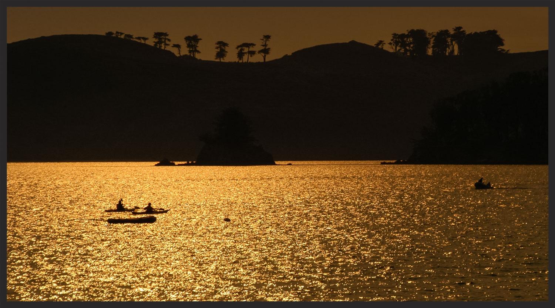 Kayaks on golden water.