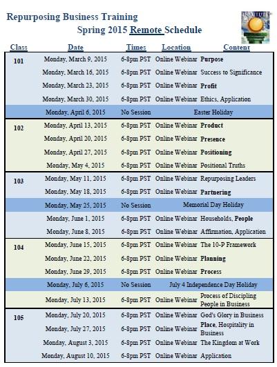 Remote Class Schedule