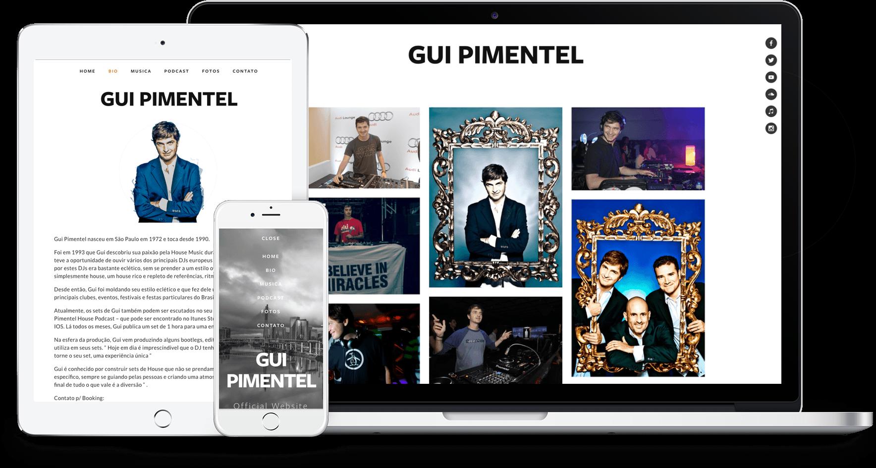Site Dj Gui Pimentel no Squarespace.