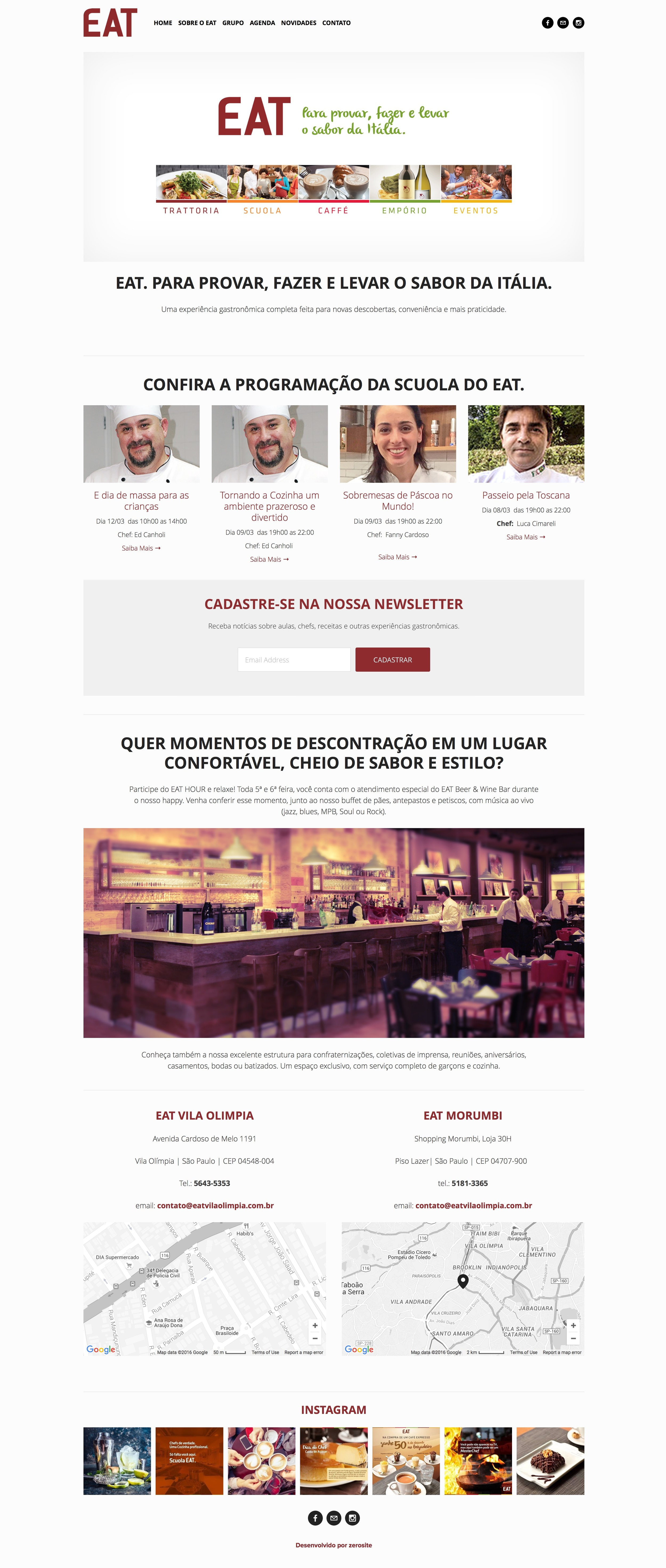 Site Restaurante EAT do grupo La Pastina