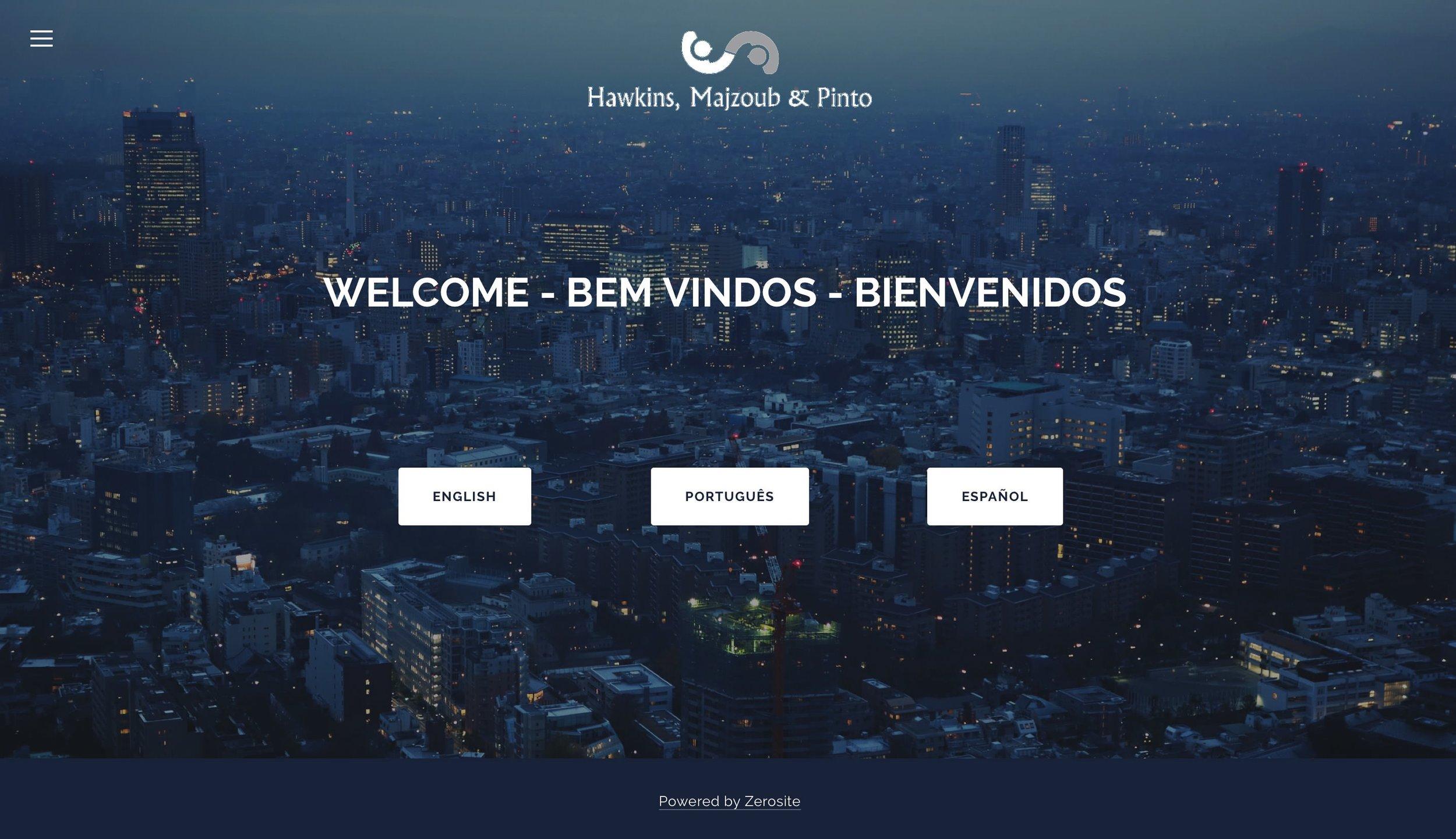 Home Page da HMP Advogados, cliente da agencia de sites zerosite