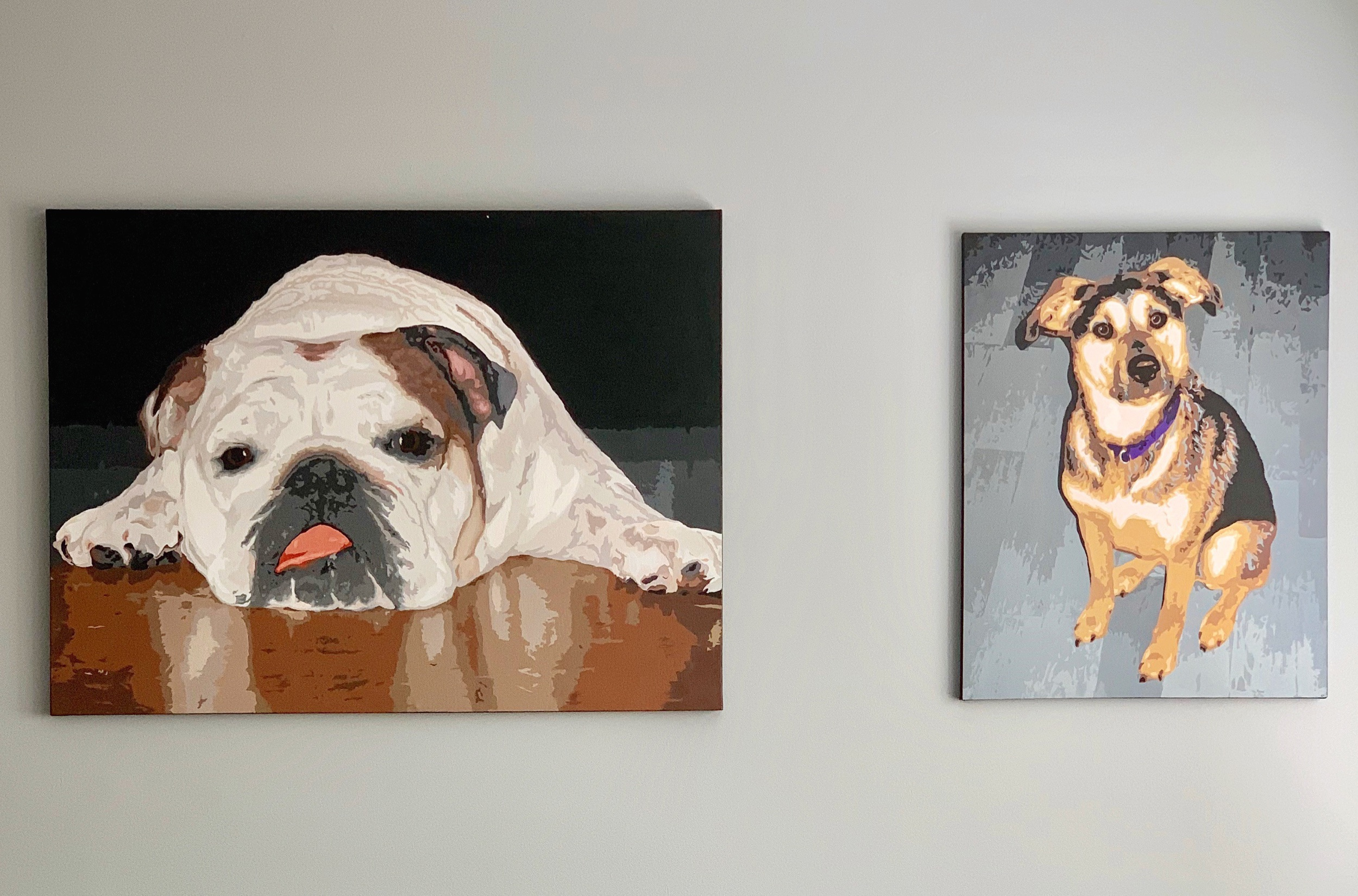 Custom oil paintings of Wally and Winnie