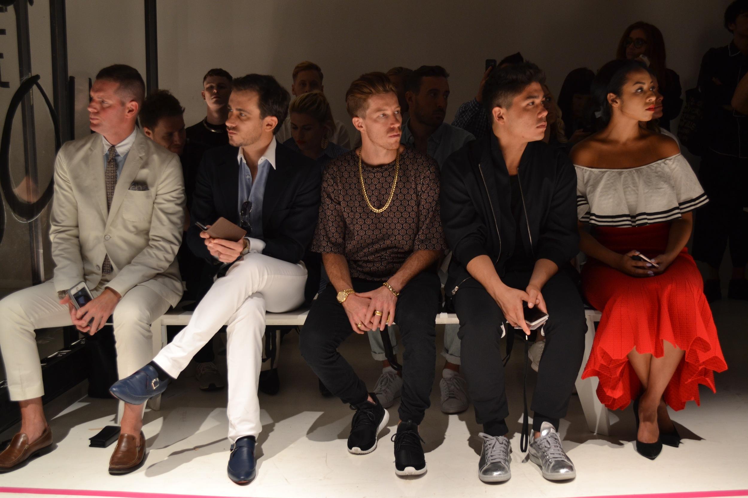 Shaun White sitting front row at Robert Geller.