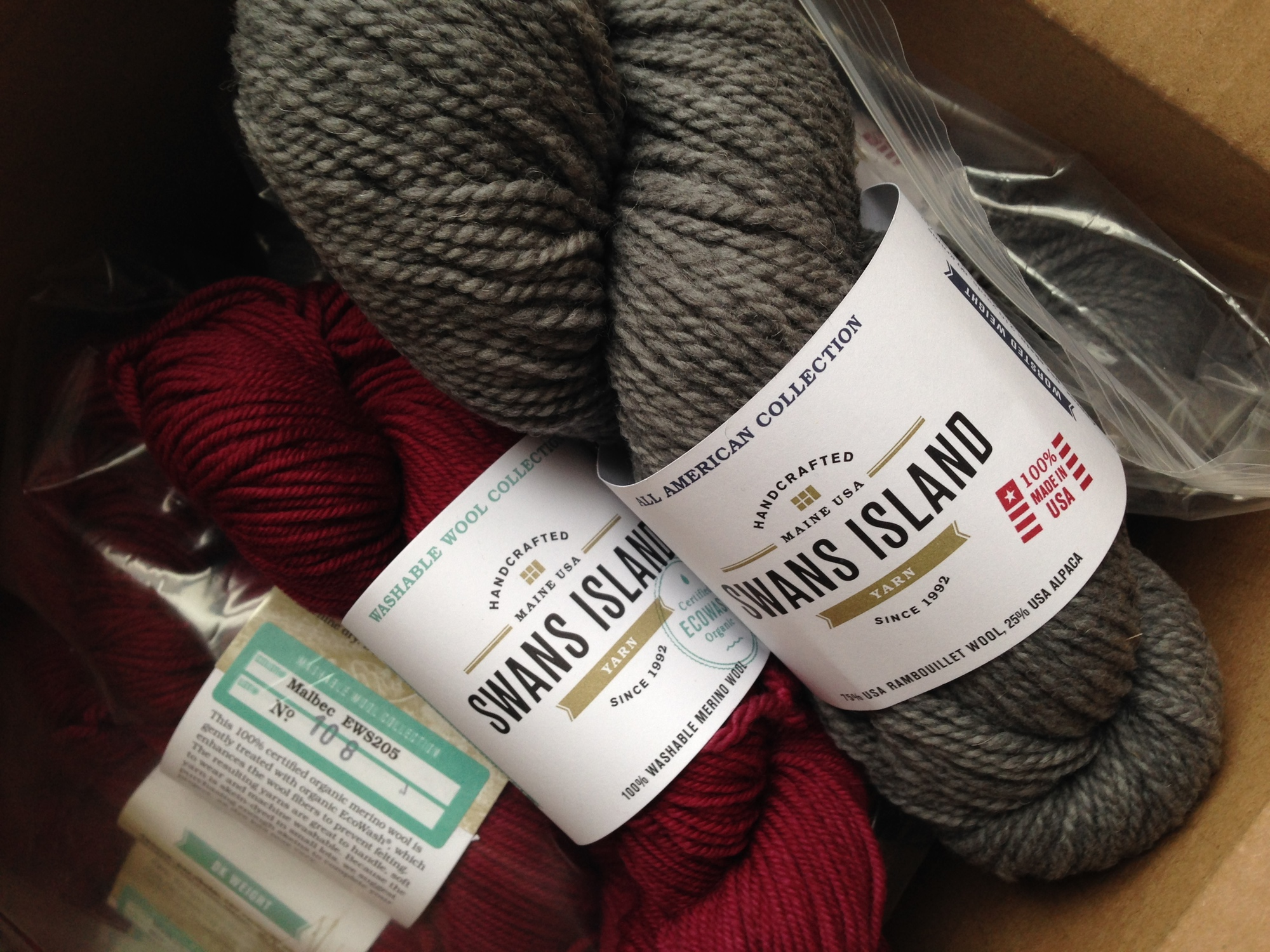 Box of Swans Island Yarn