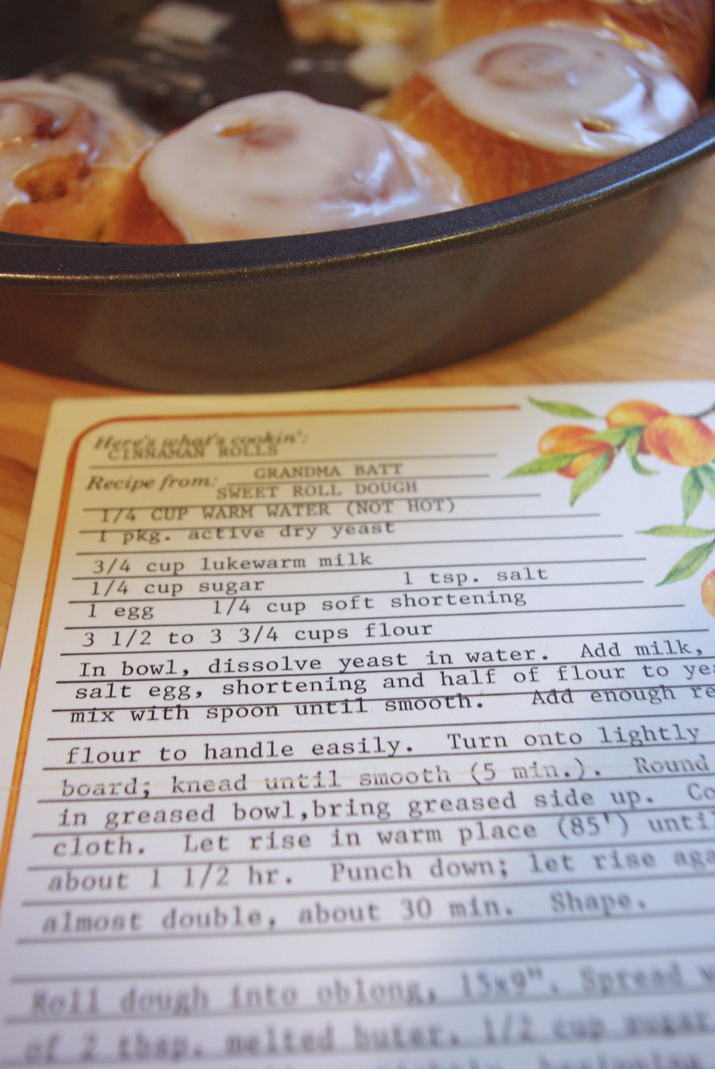 Grandma Batt's Cinnamon Rolls via Ms. Cleaver